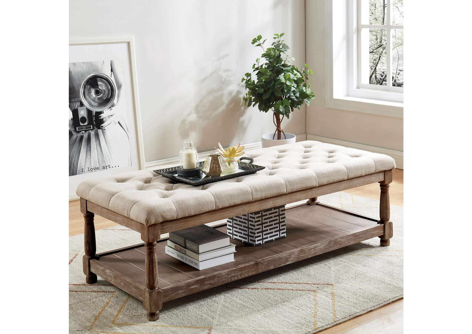 Tanya Beige Uhpolstered Bench,Furniture of America