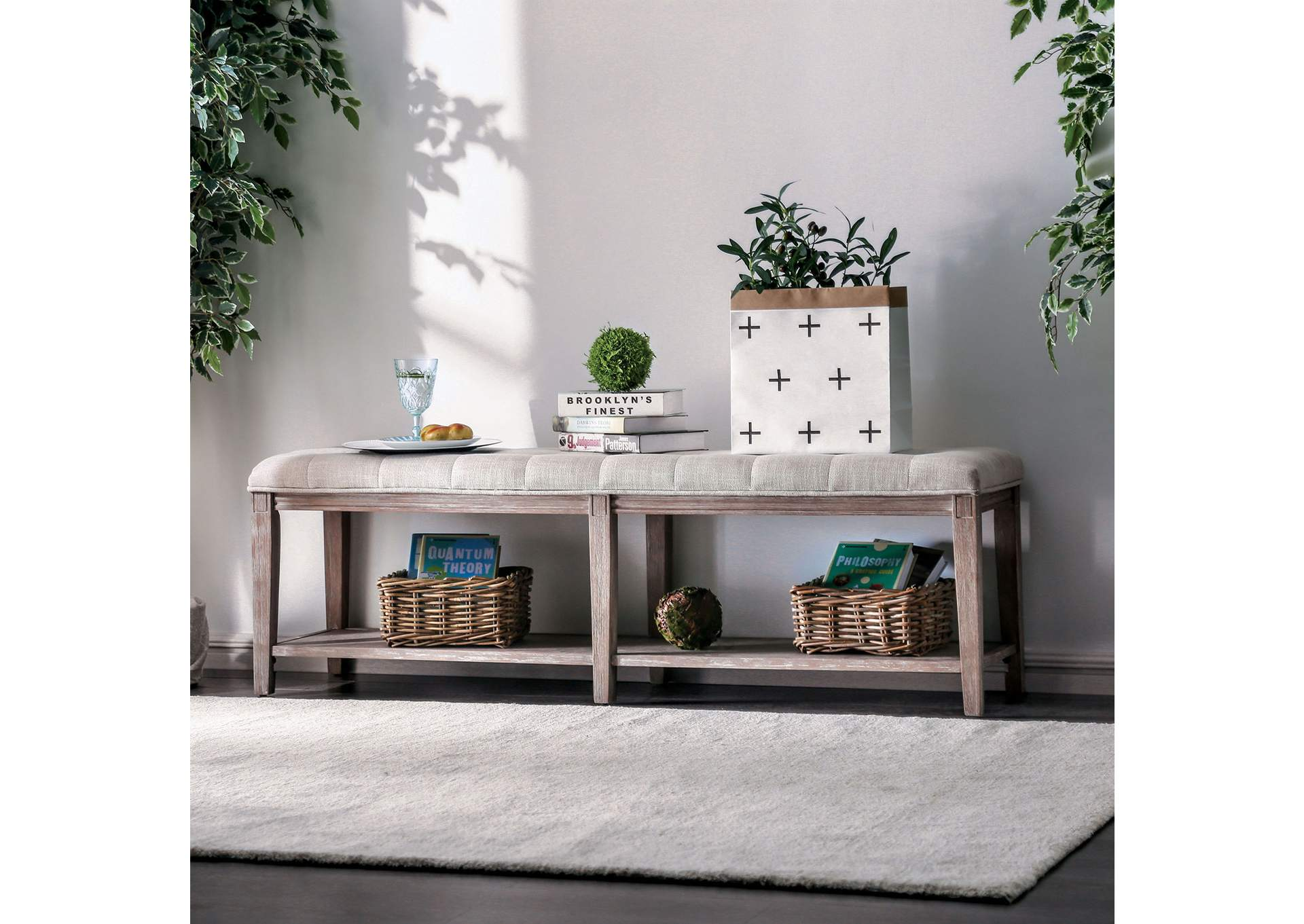 Tayah Beige Bench,Furniture of America