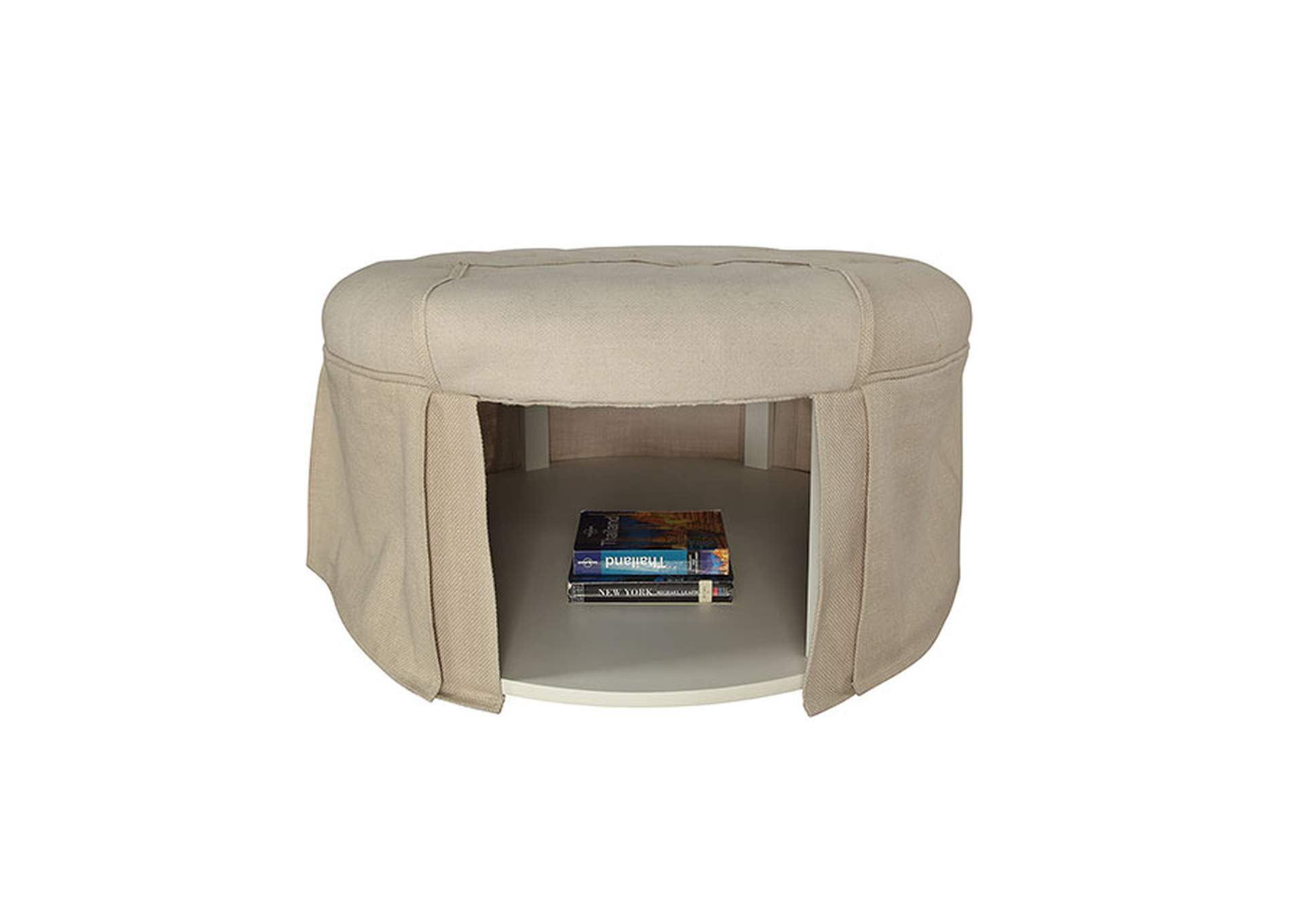 Claes Beige Storage Ottoman,Furniture of America