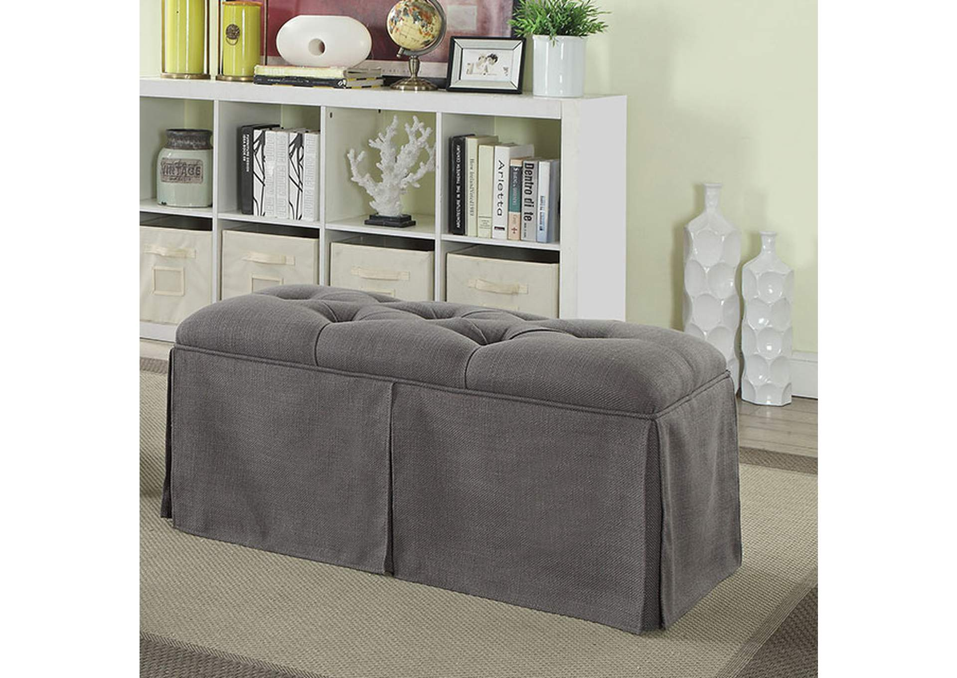 Kilrush Gray Storage Bench,Furniture of America