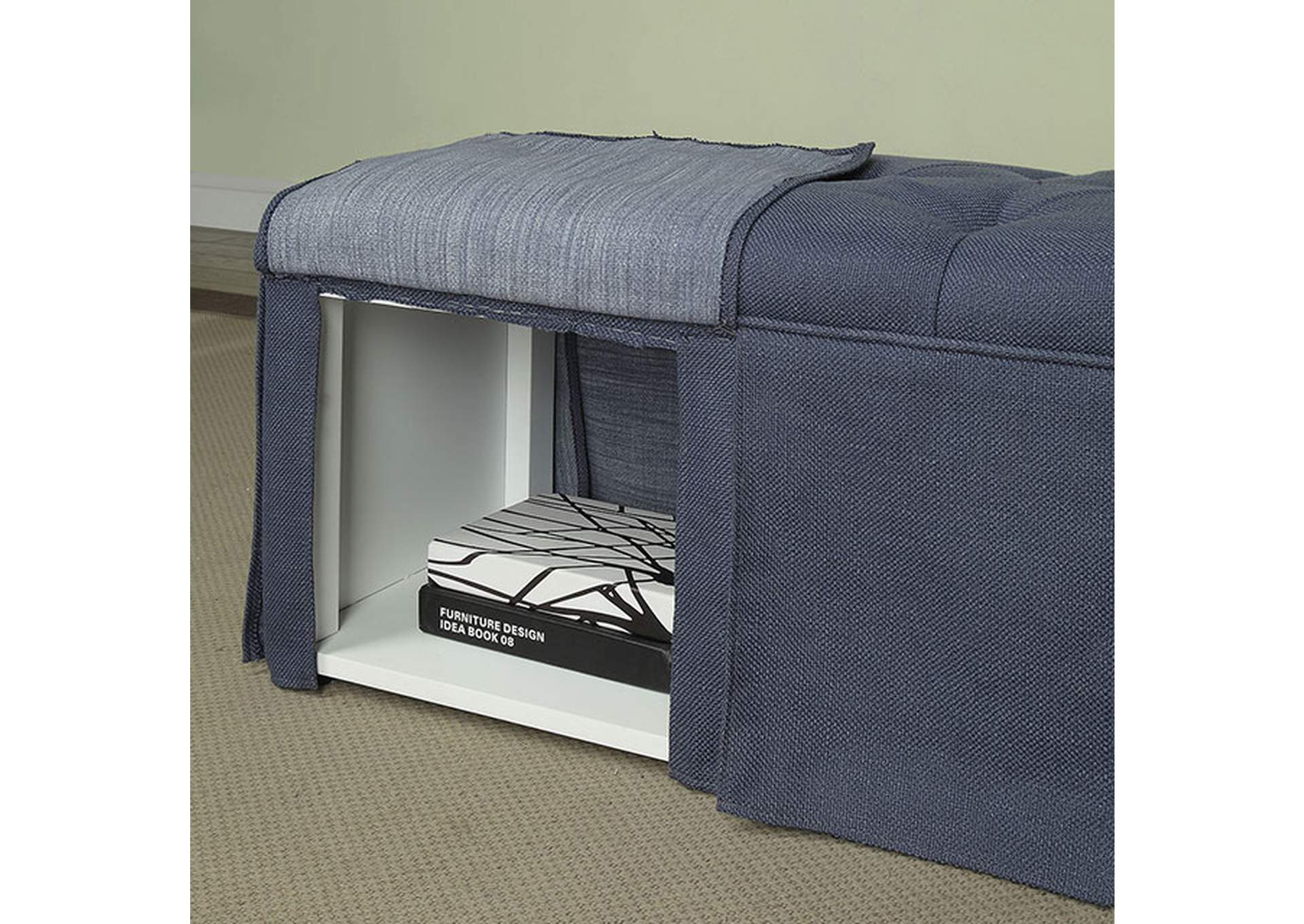 Kilrush Blue Storage Bench,Furniture of America