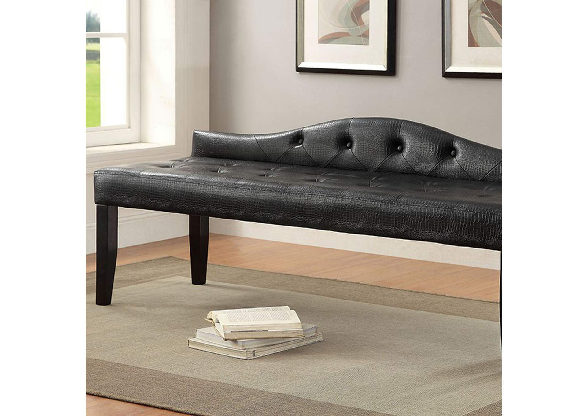 Calpas III Black Large Leatherette Bench,Furniture of America