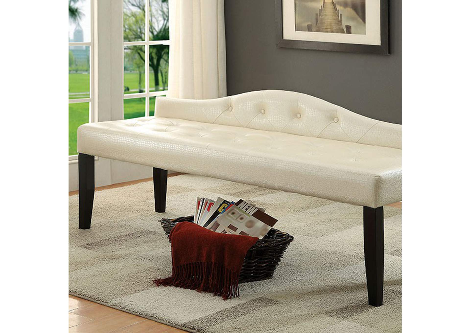 Calpas III Pearl White Large Leatherette Bench,Furniture of America