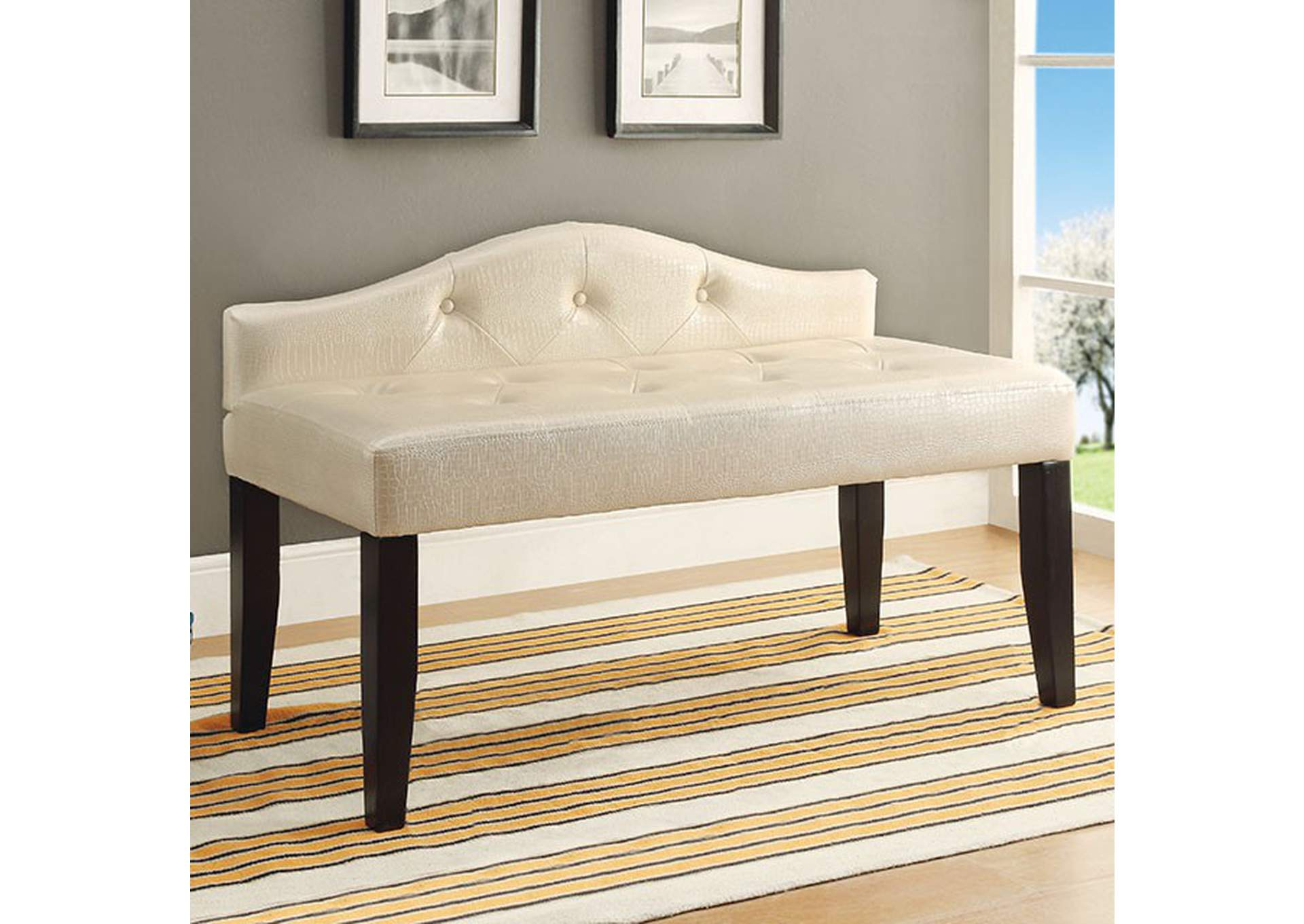 Calpas III Pearl White Small Leatherette Bench,Furniture of America