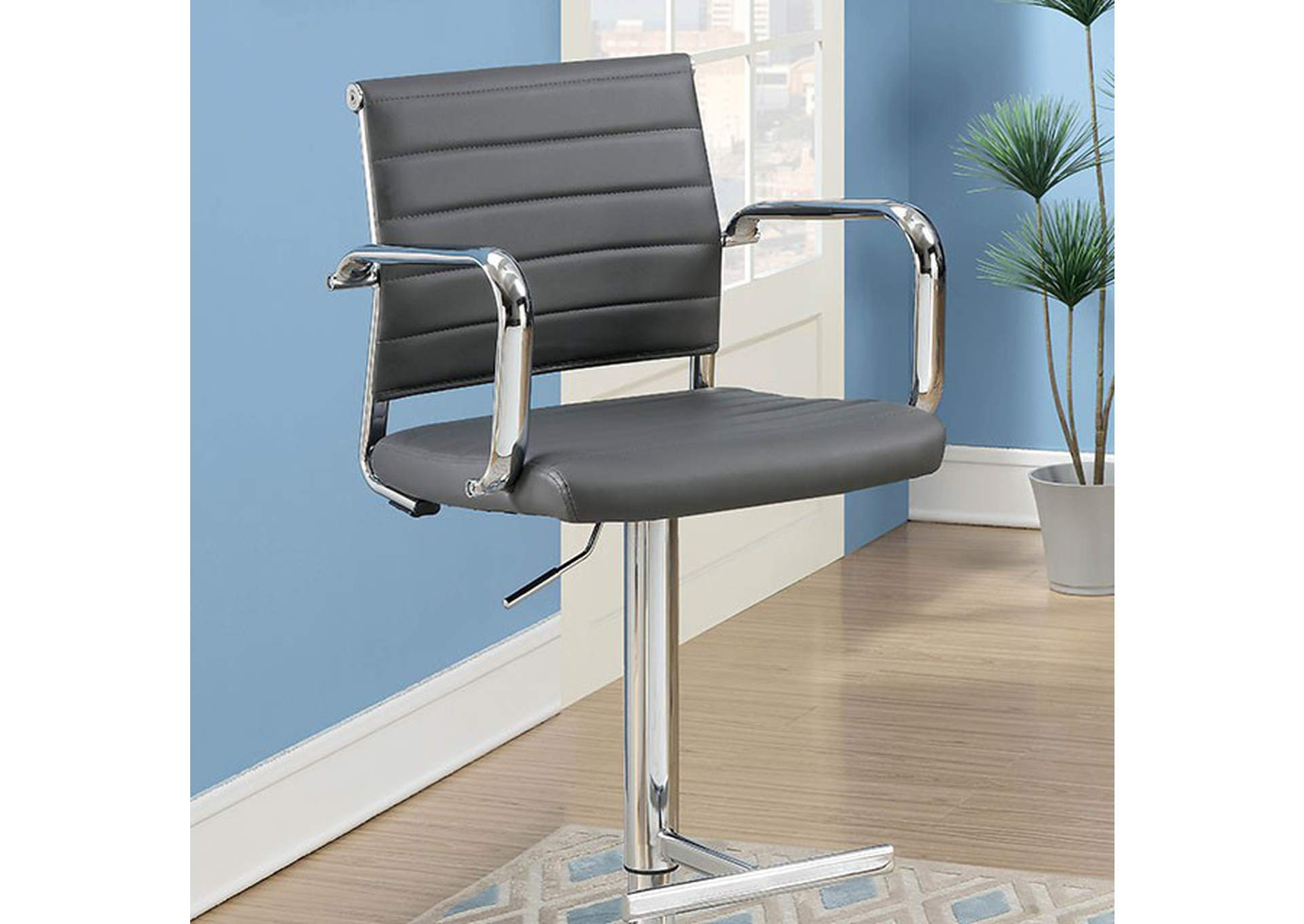 Sedona Gray Leatherette Swivel Bar Stool w/Adjustable Height,Furniture of America