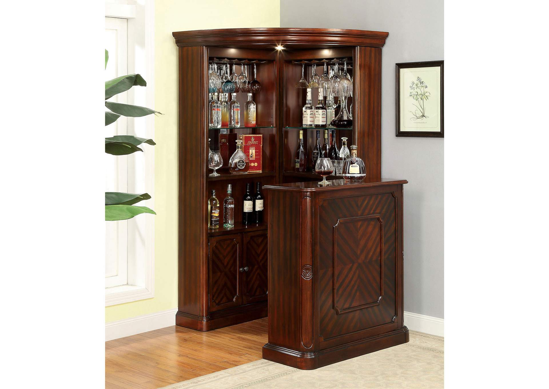 Voltaire Dark Cherry Corner Curio,Furniture of America