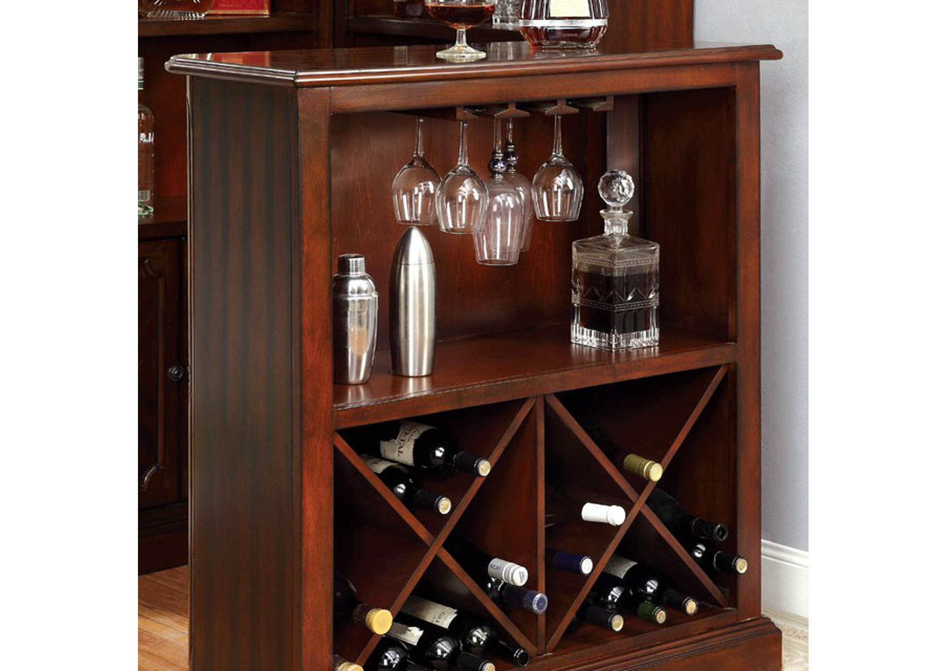 Voltaire Dark Cherry Standing Bar Table,Furniture of America