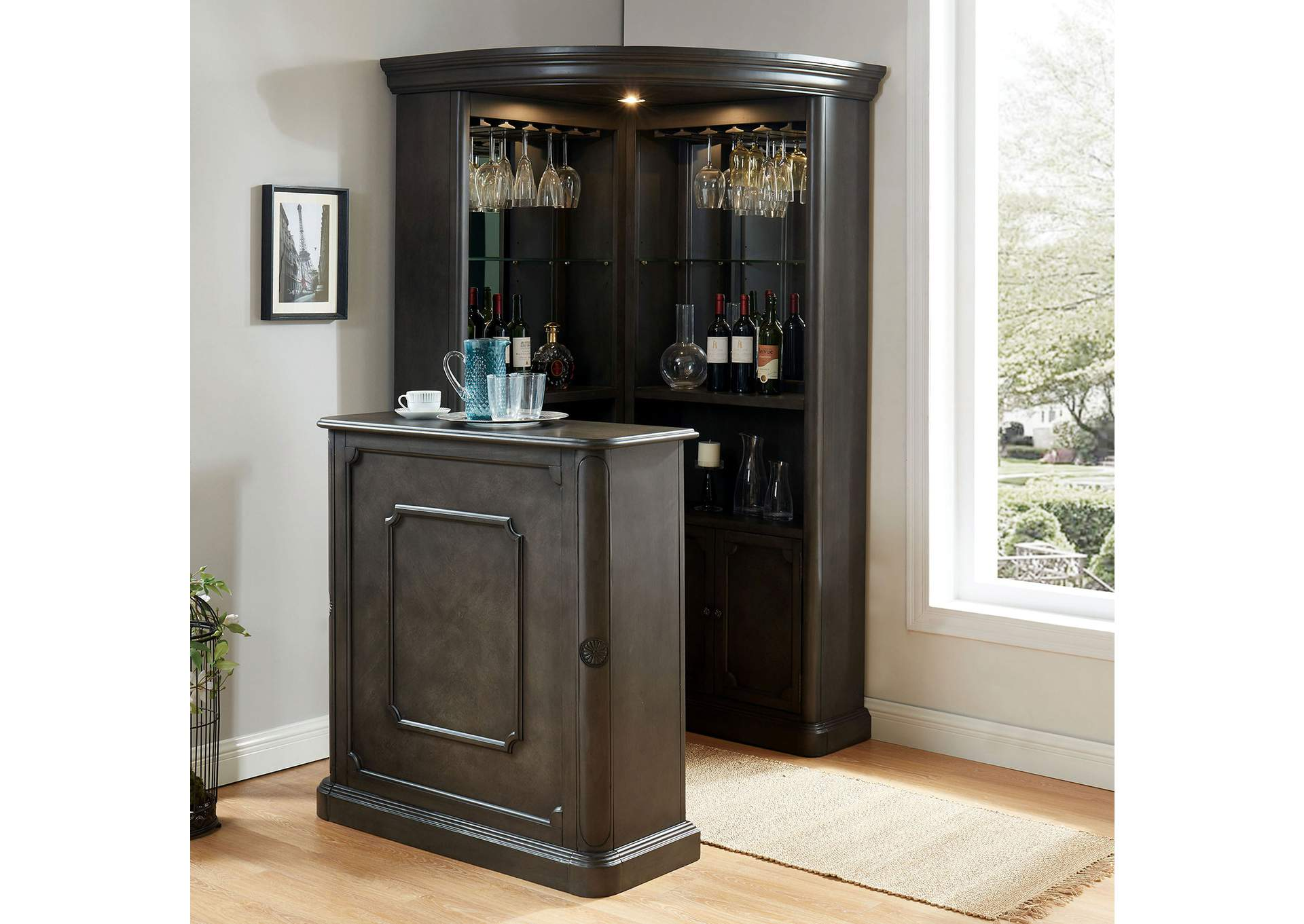 Voltaire Gray Corner Curio,Furniture of America