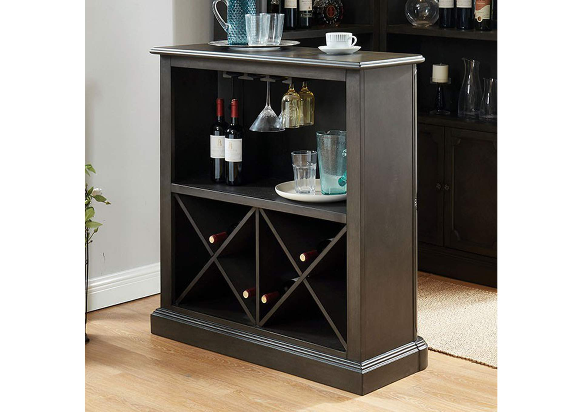 Voltaire Gray Standing Bar Table,Furniture of America