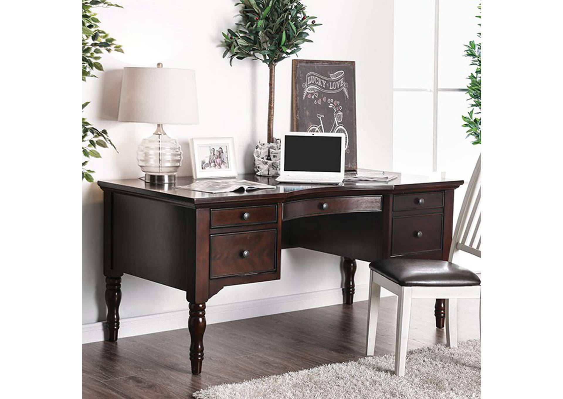 Lewis Dark Walnut Desk,Furniture of America