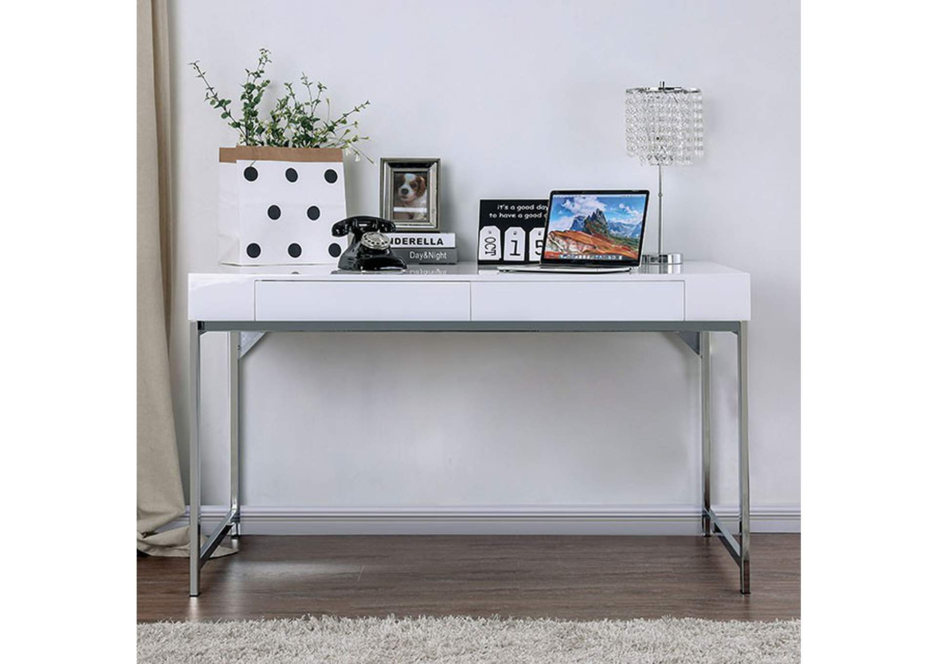 Loke White Desk,Furniture of America