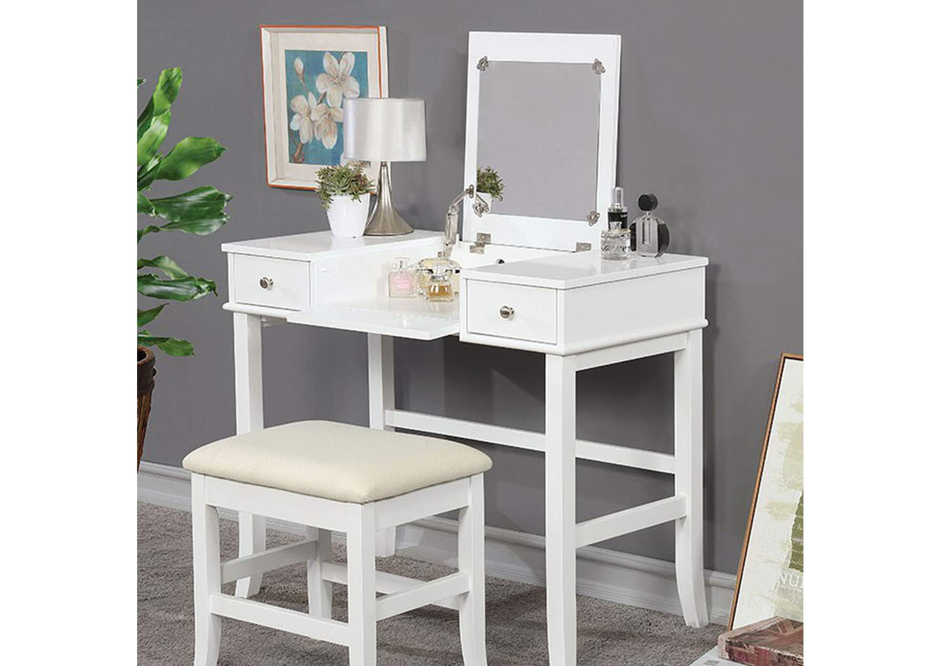 Kelis White Vanity Set,Furniture of America