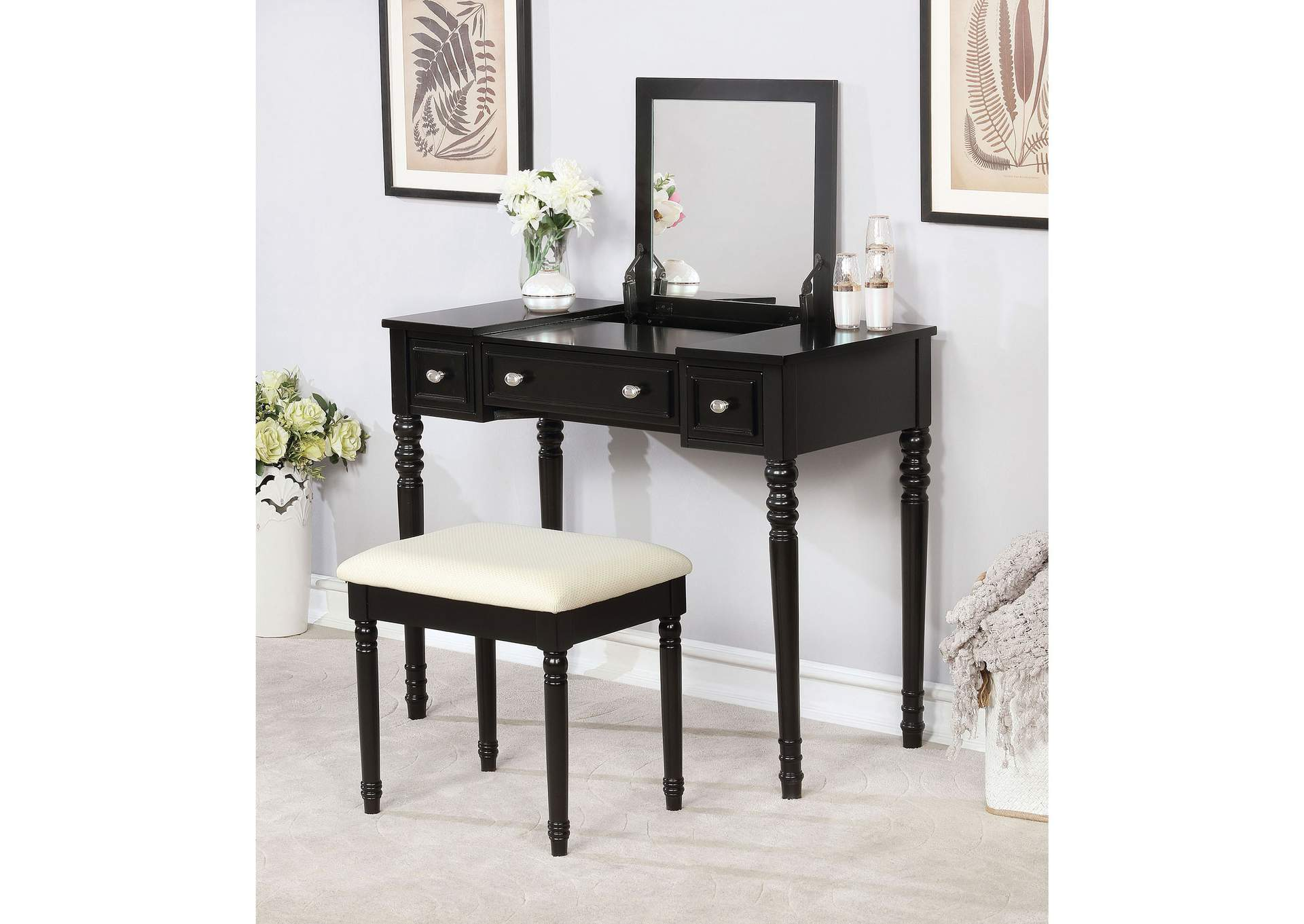 Baylee Black Vanity Set,Furniture of America