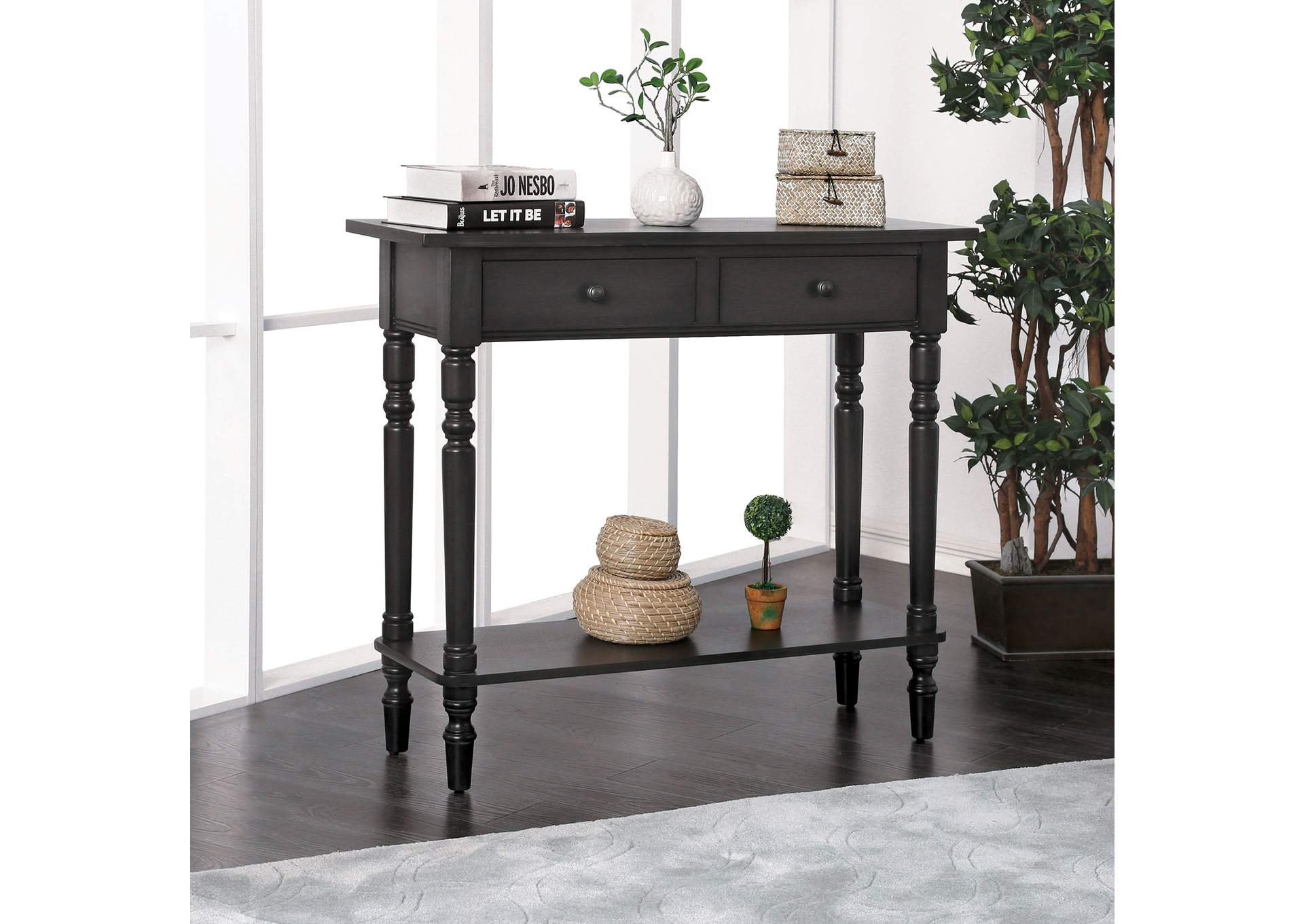 Calle Gray Server w/2 Drawers & Open Shelf,Furniture of America