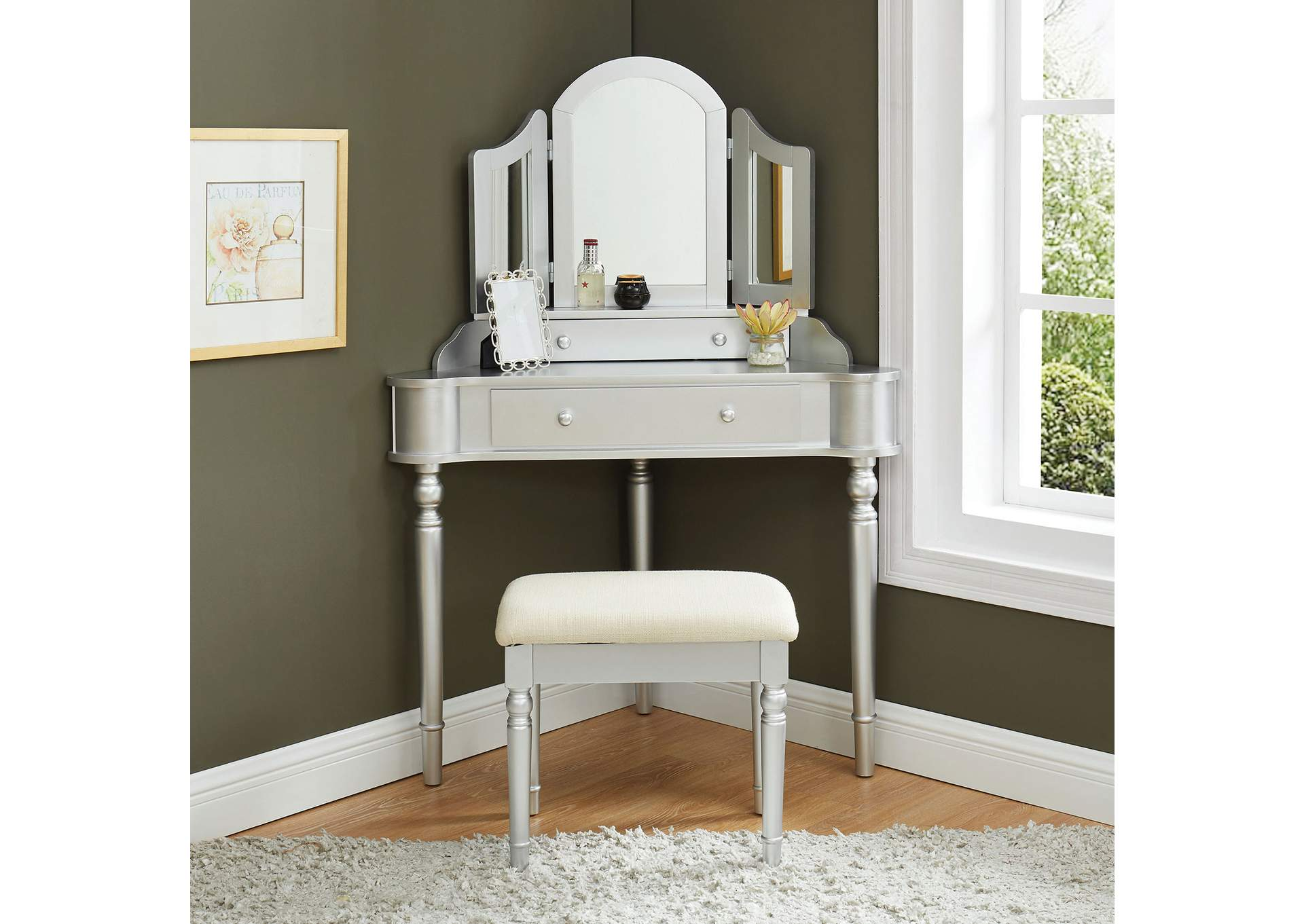 Kasey Silver Vanity w/ Stool,Furniture of America