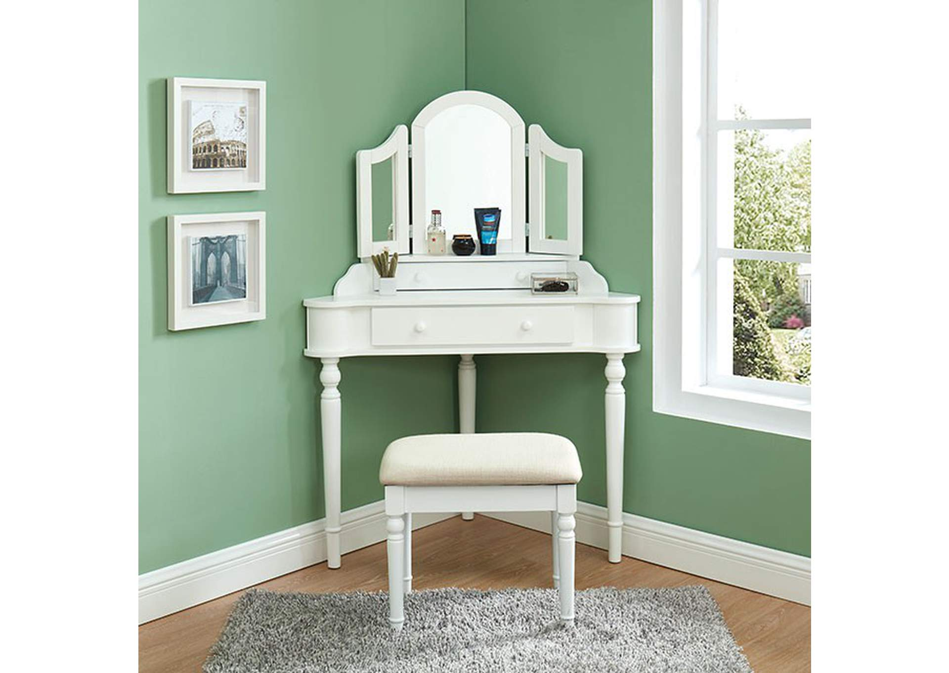 Kasey White Vanity w/ Stool,Furniture of America