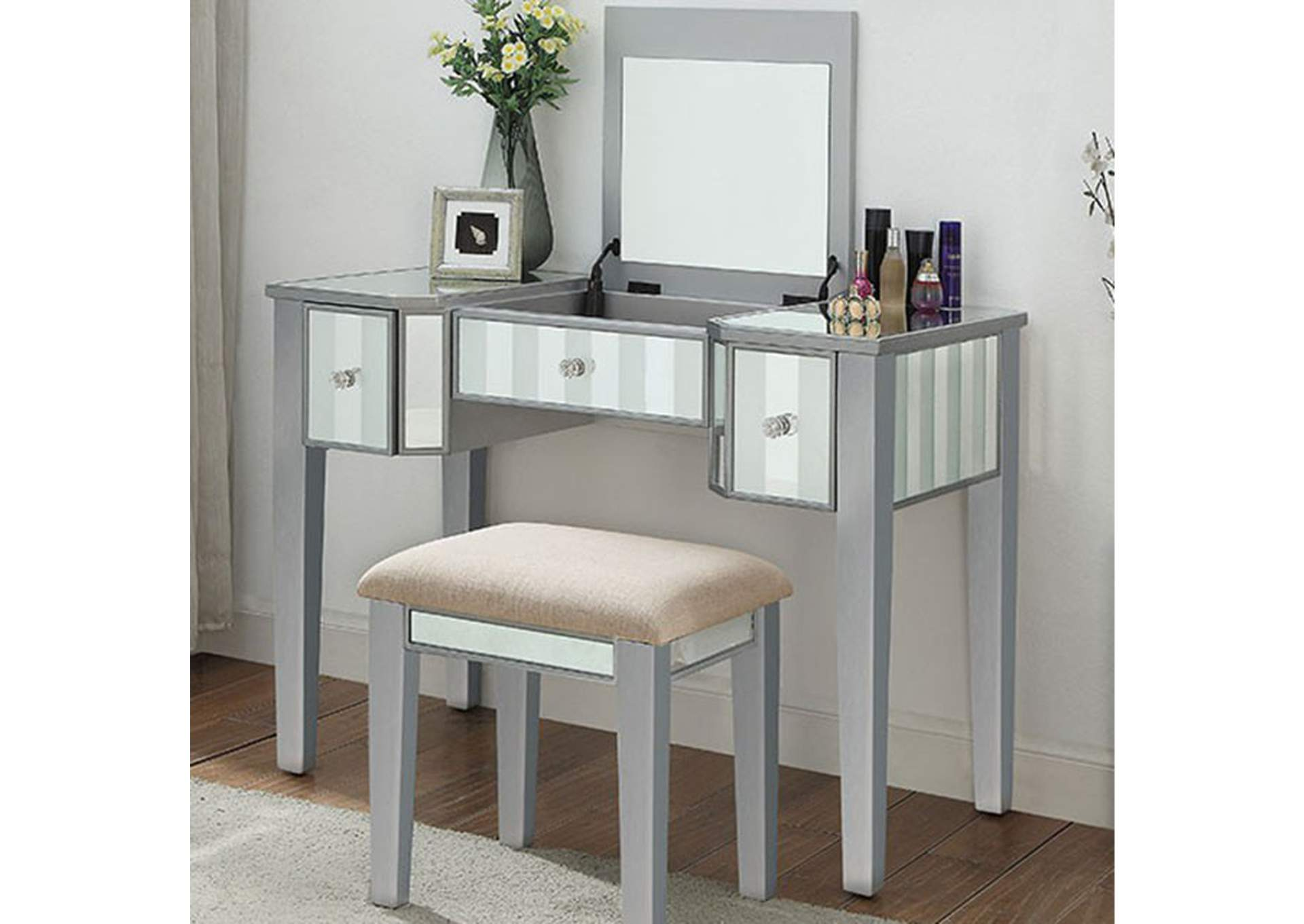 Joyce Silver Vanity w/ Stool,Furniture of America