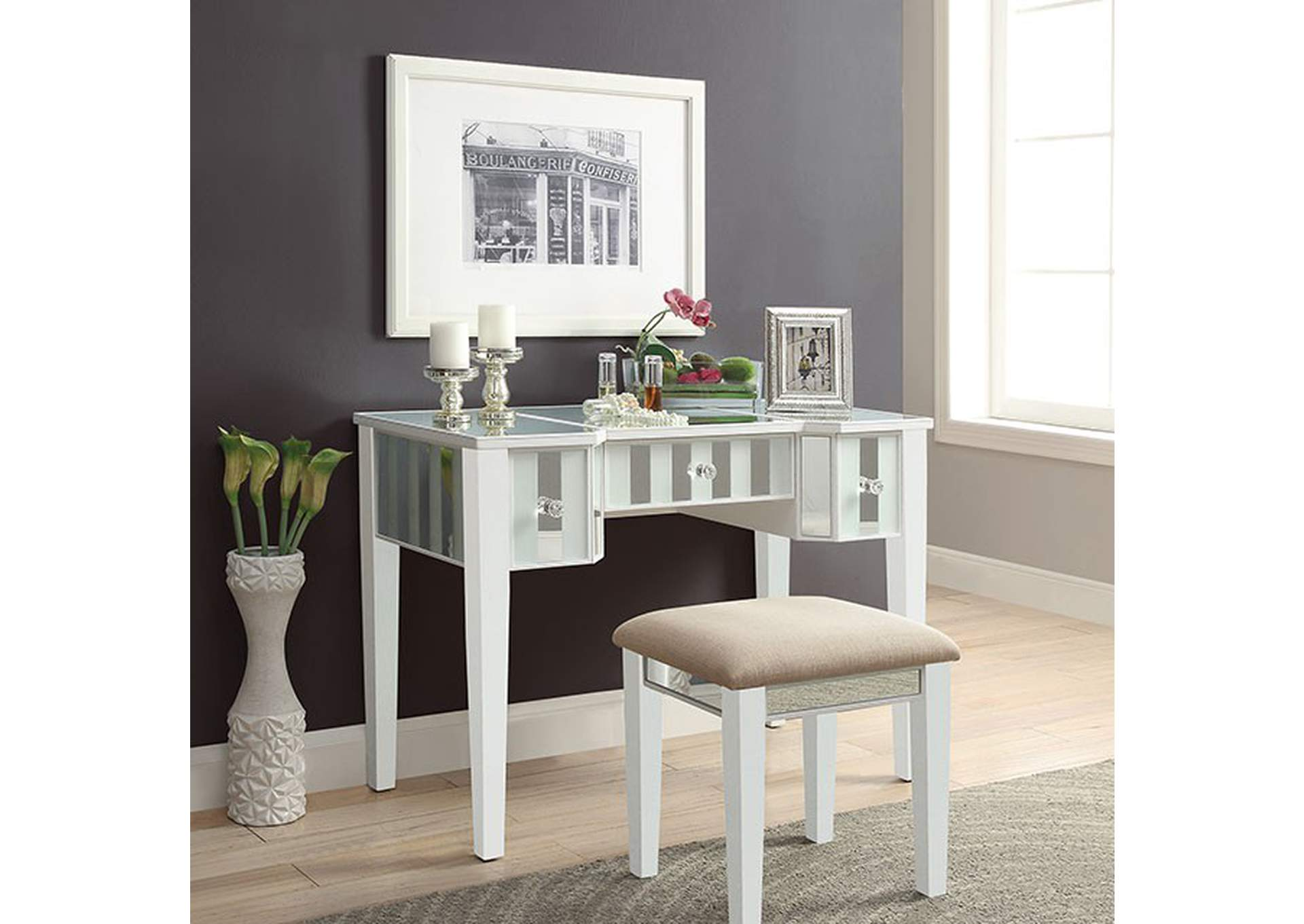 Joyce White Vanity w/ Stool,Furniture of America