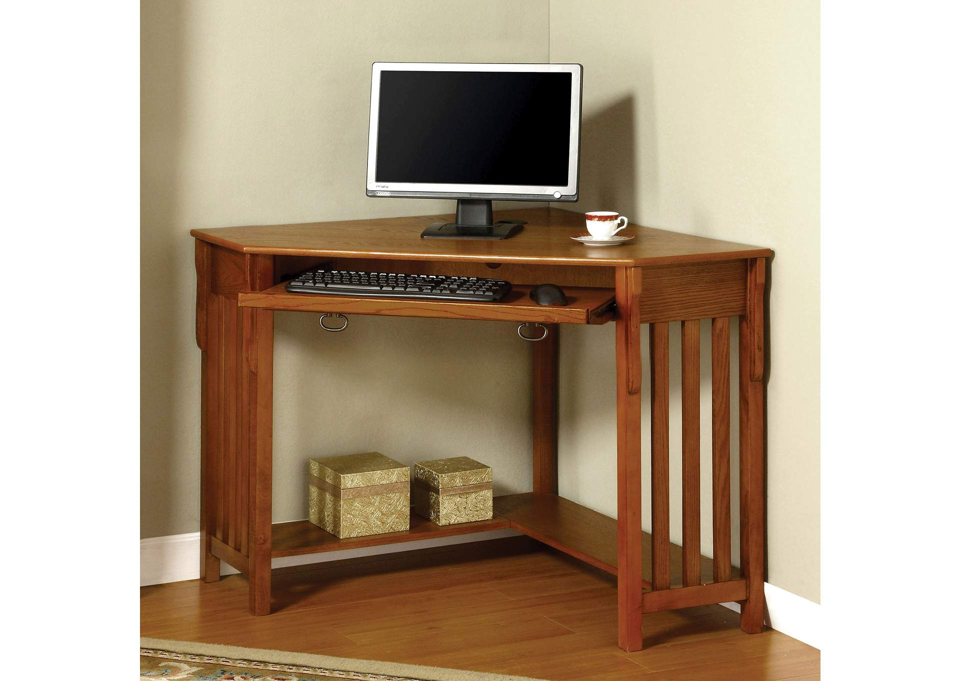 Toledo Medium Oak Corner Desk,Furniture of America