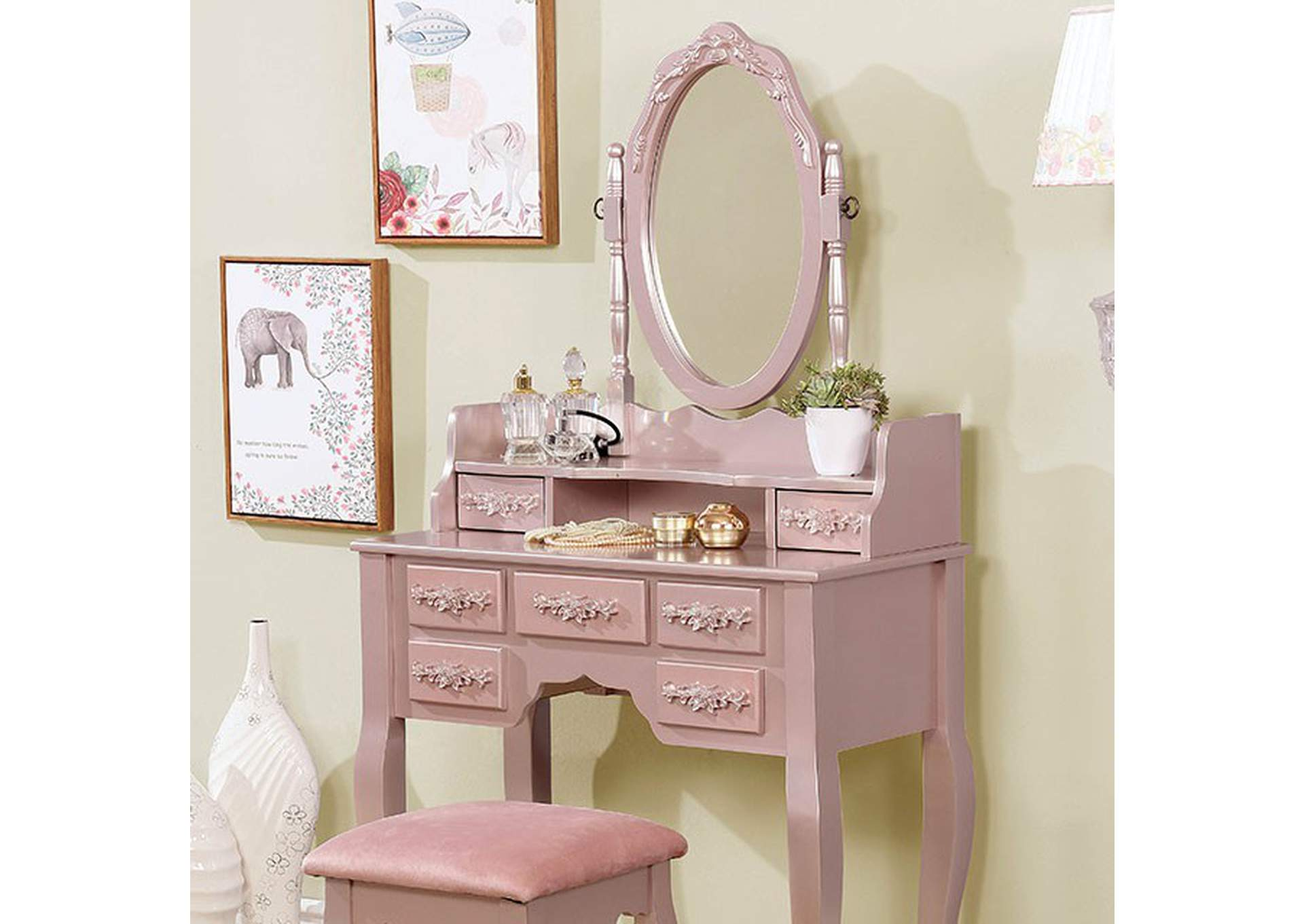 Harriet Rose Gold Vanity W/ Stool,Furniture of America
