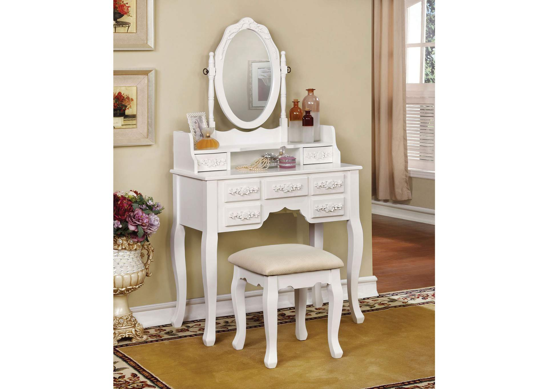 Harriet White Vanity W/ Stool,Furniture of America
