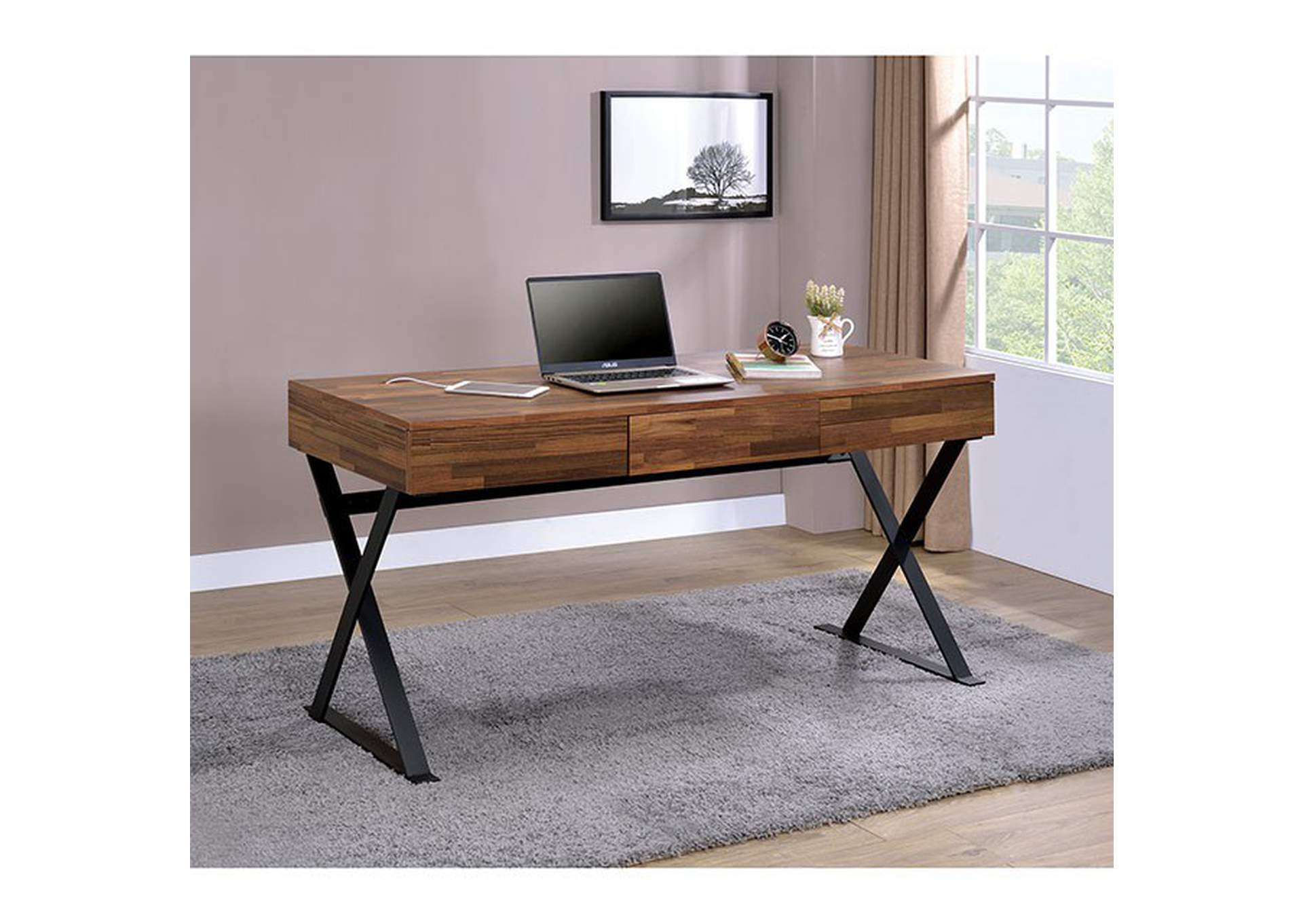 Tensed Black Desk,Furniture of America