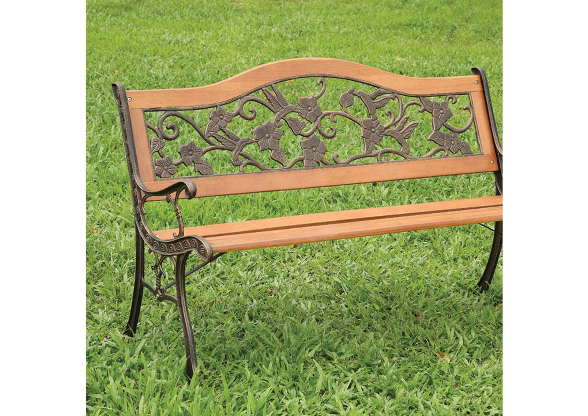 Alba Brown Patio Bench,Furniture of America