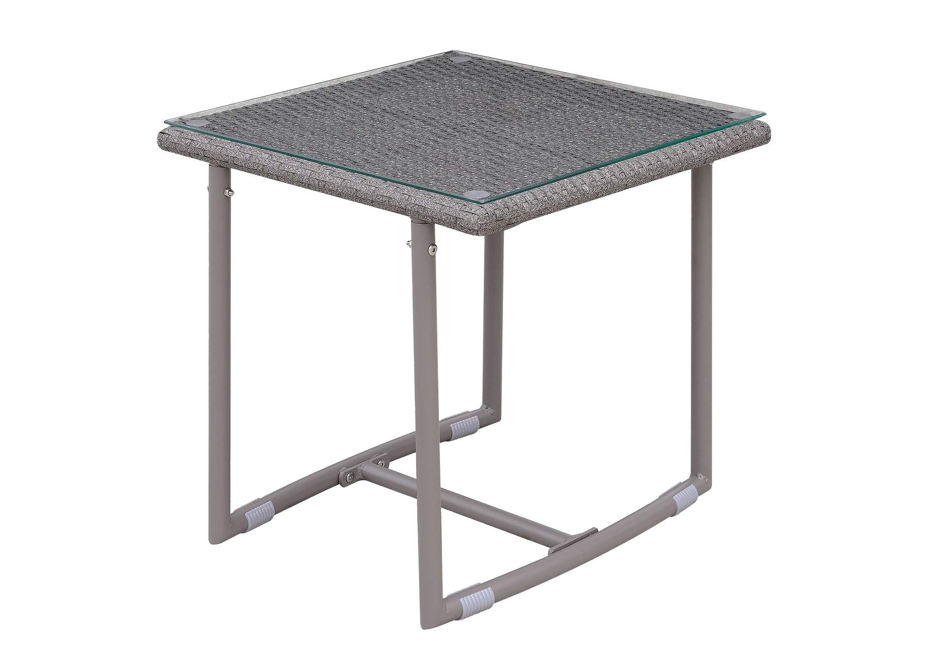 Amya Gray End Table w/Glass Top,Furniture of America