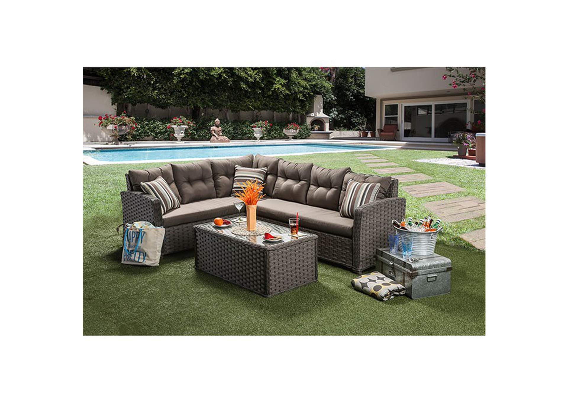 Moura Patio Sectional,Furniture of America