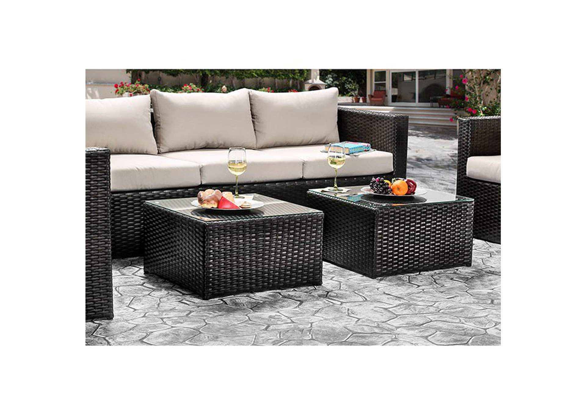 Olina Beige Patio Sofa Set,Furniture of America