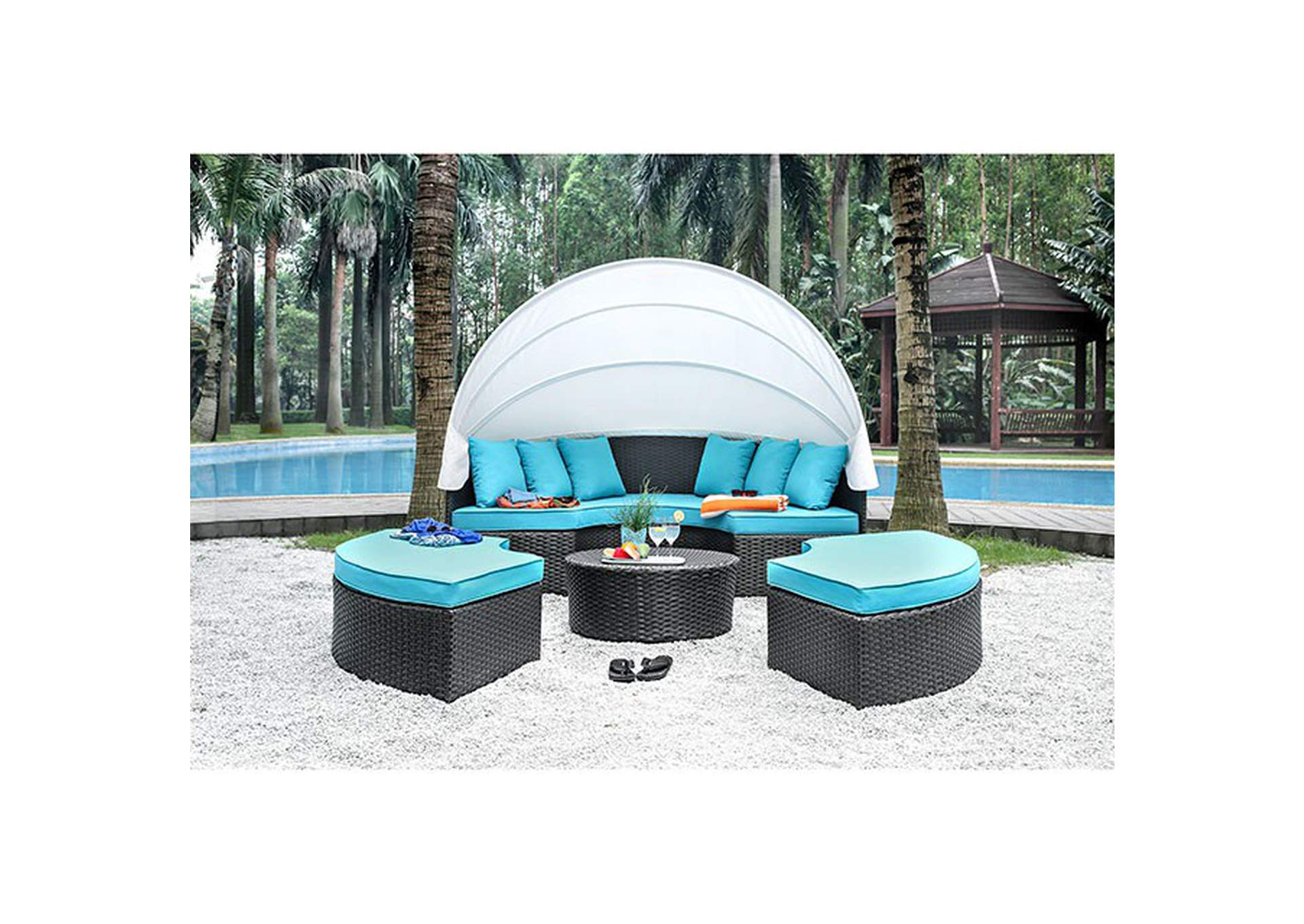 Aria Brown/Turquoise Patio Daybed Sectional,Furniture of America