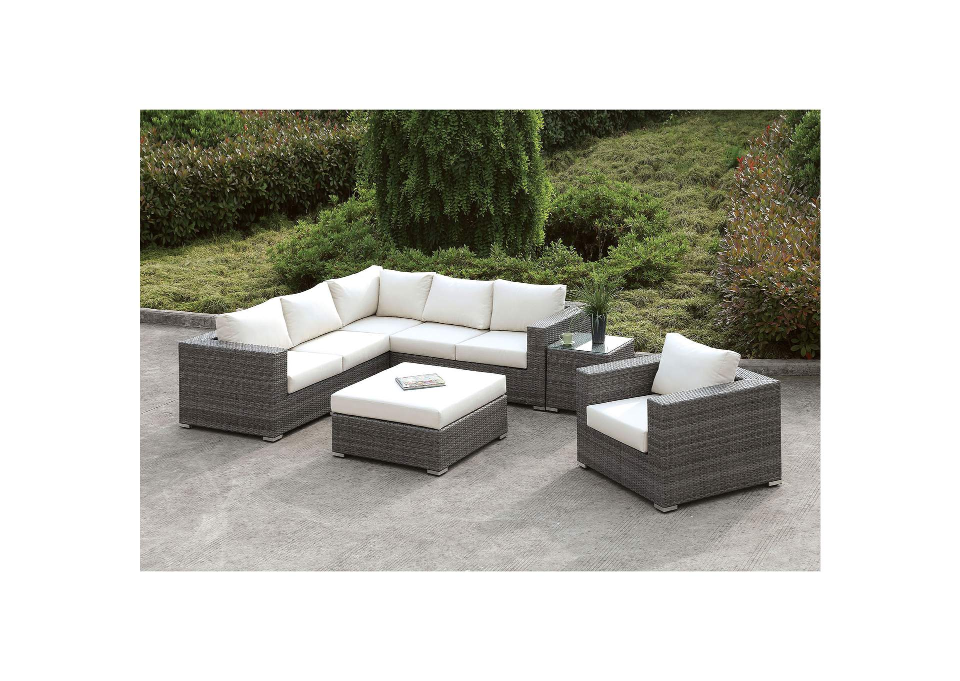 Somani Light Gray/Ivory Wicker L-Sectional  w/Chair, Coffee Table & End Table,Furniture of America