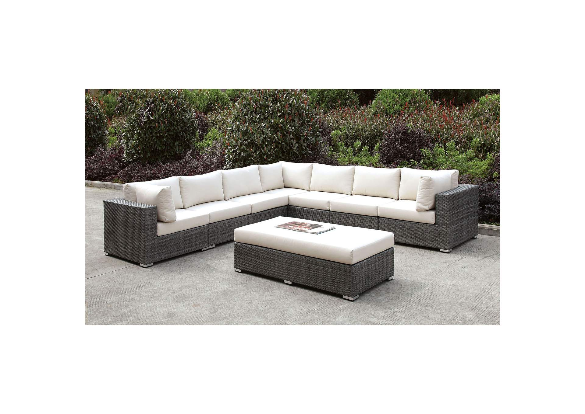 Somani Light Gray/Ivory Wicker Large L-Sectional w/Bench,Furniture of America