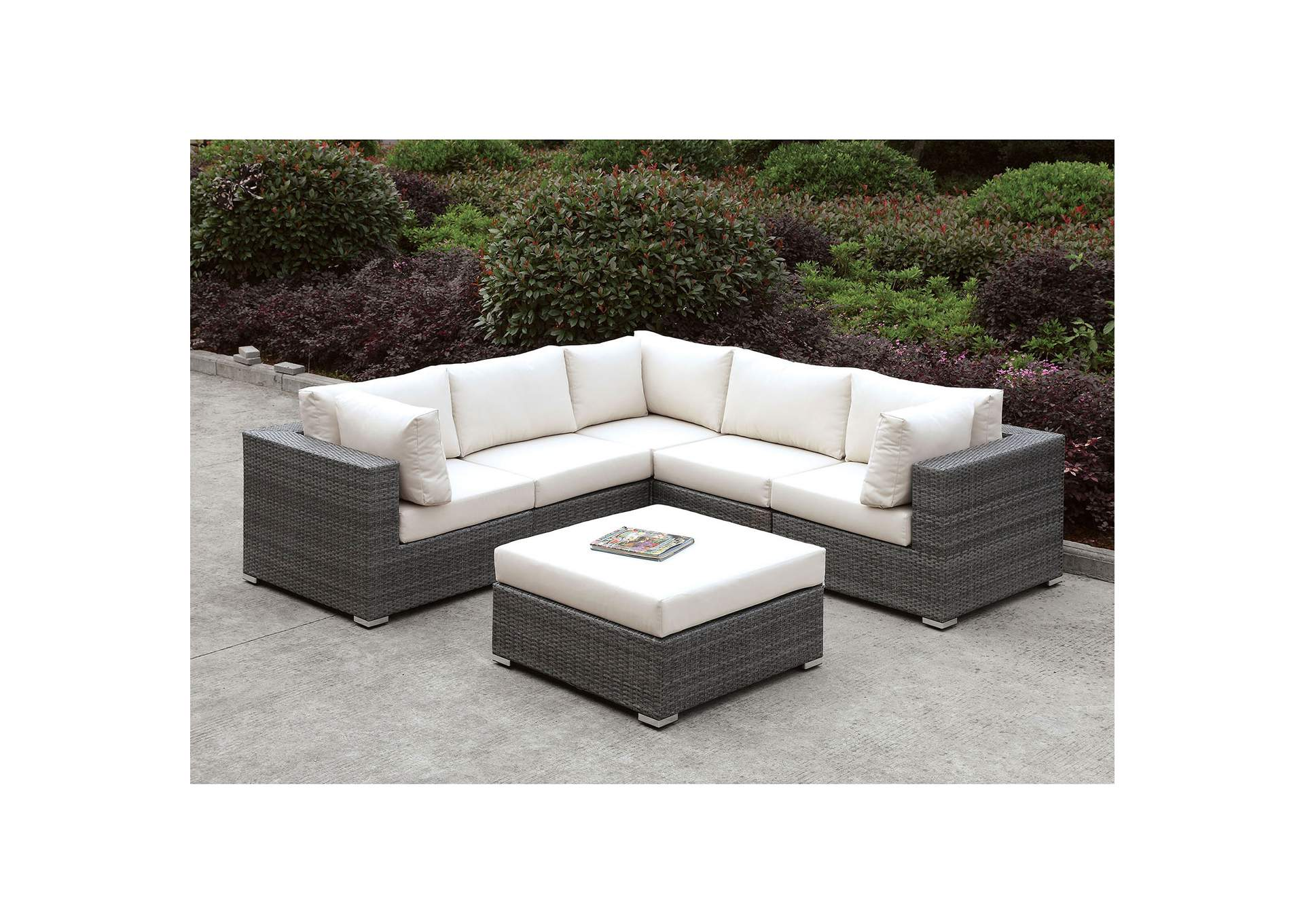 Somani Light Gray/Ivory Wicker L-Sectional w/Ottoman,Furniture of America