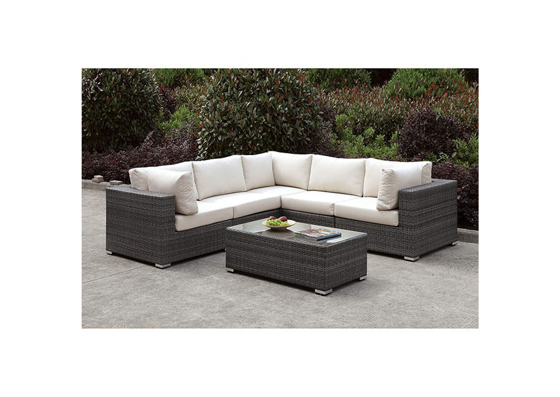 Somani Light Gray/Ivory Wicker L-Sectional & Coffee Table,Furniture of America