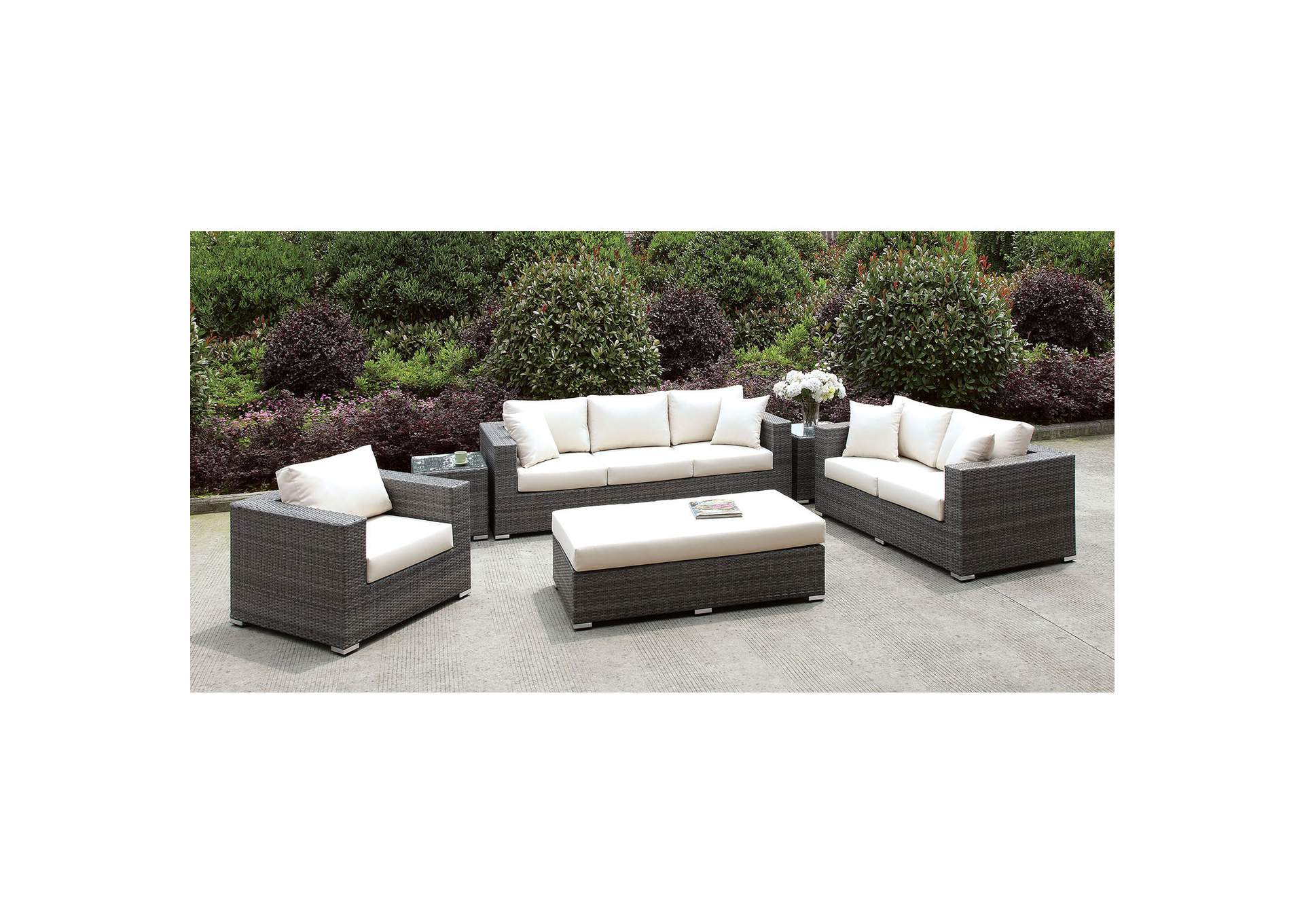 Somani Light Gray/Ivory Wicker 3 Piece Patio Set (Bench & 2 End Tables),Furniture of America