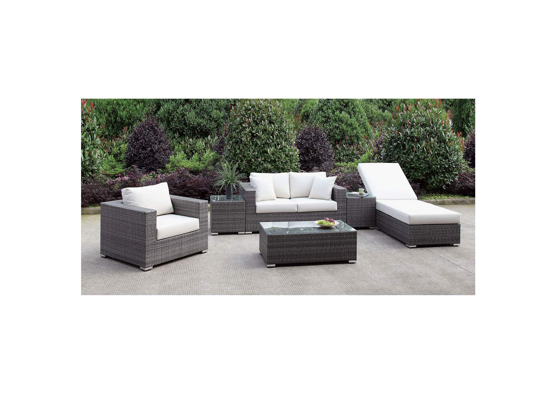 Somani Light Gray/Ivory Wicker Patio Set (Loveseat, Chair, Adj Chaise, 2 End Tables & Coffee Table),Furniture of America
