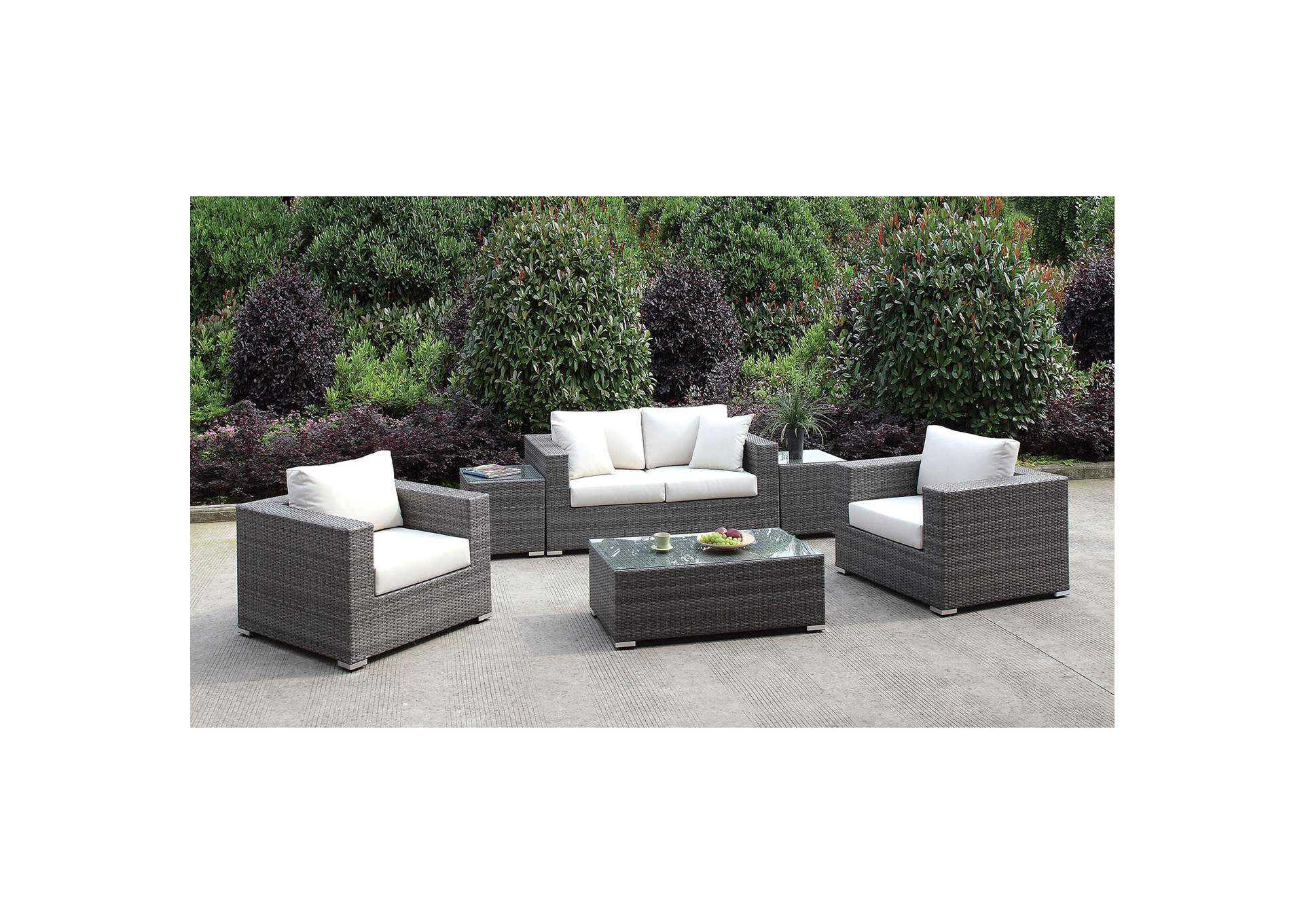 Somani Light Gray/Ivory Wicker Patio Set (Loveseat, 2 Chair, 2 End Tables & Coffee Table),Furniture of America