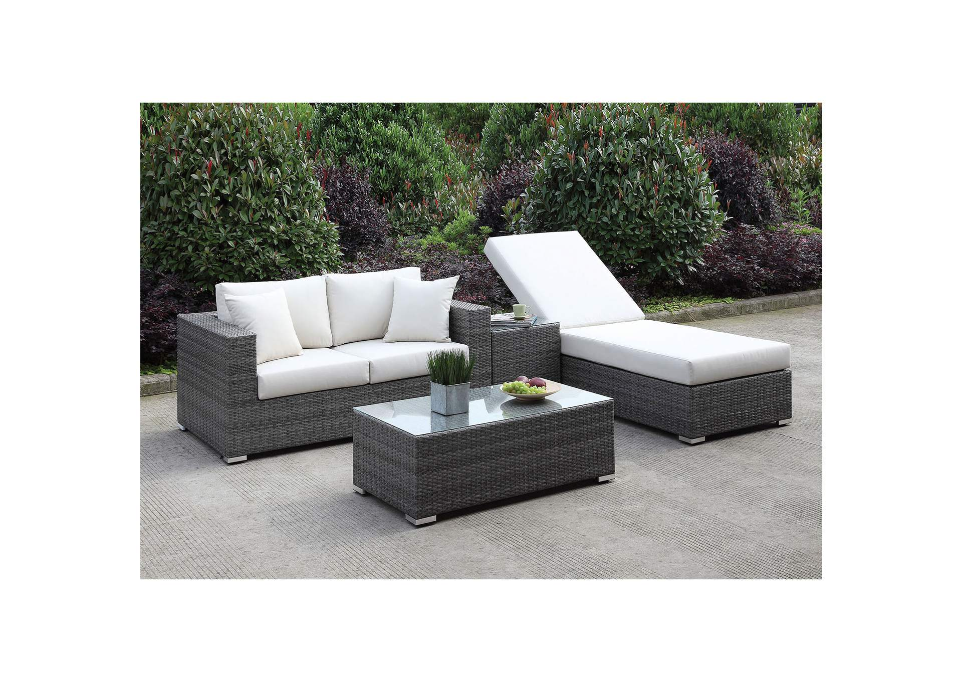 Somani Light Gray/Ivory Wicker Patio Set (Loveseat, ADJ Chaise, End Table & Coffee Table),Furniture of America