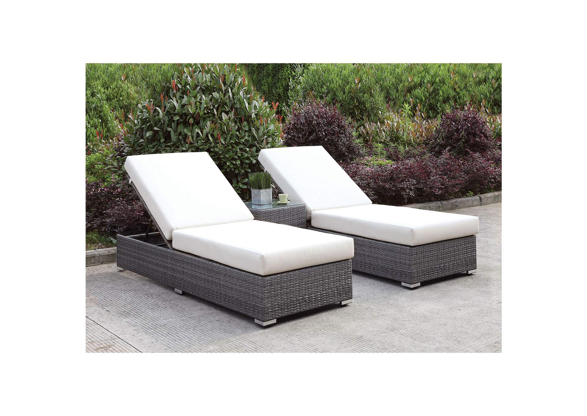 Somani Light Gray/Ivory Wicker Patio Set (2 Adj Chaise & End Table),Furniture of America