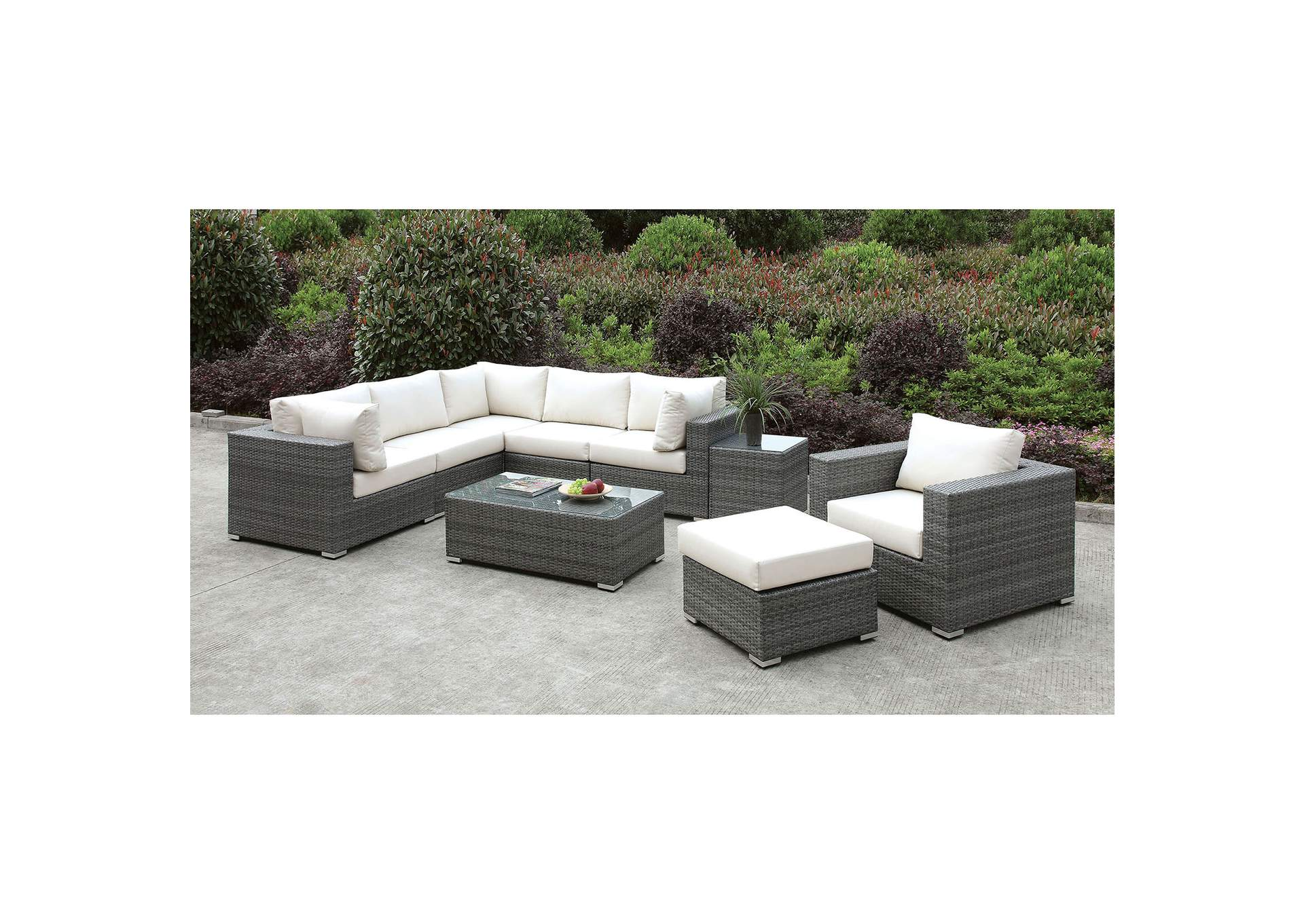 Somani Light Gray/Ivory Wicker L-Sectional w/Chair, Ottoman & Coffee Table,Furniture of America