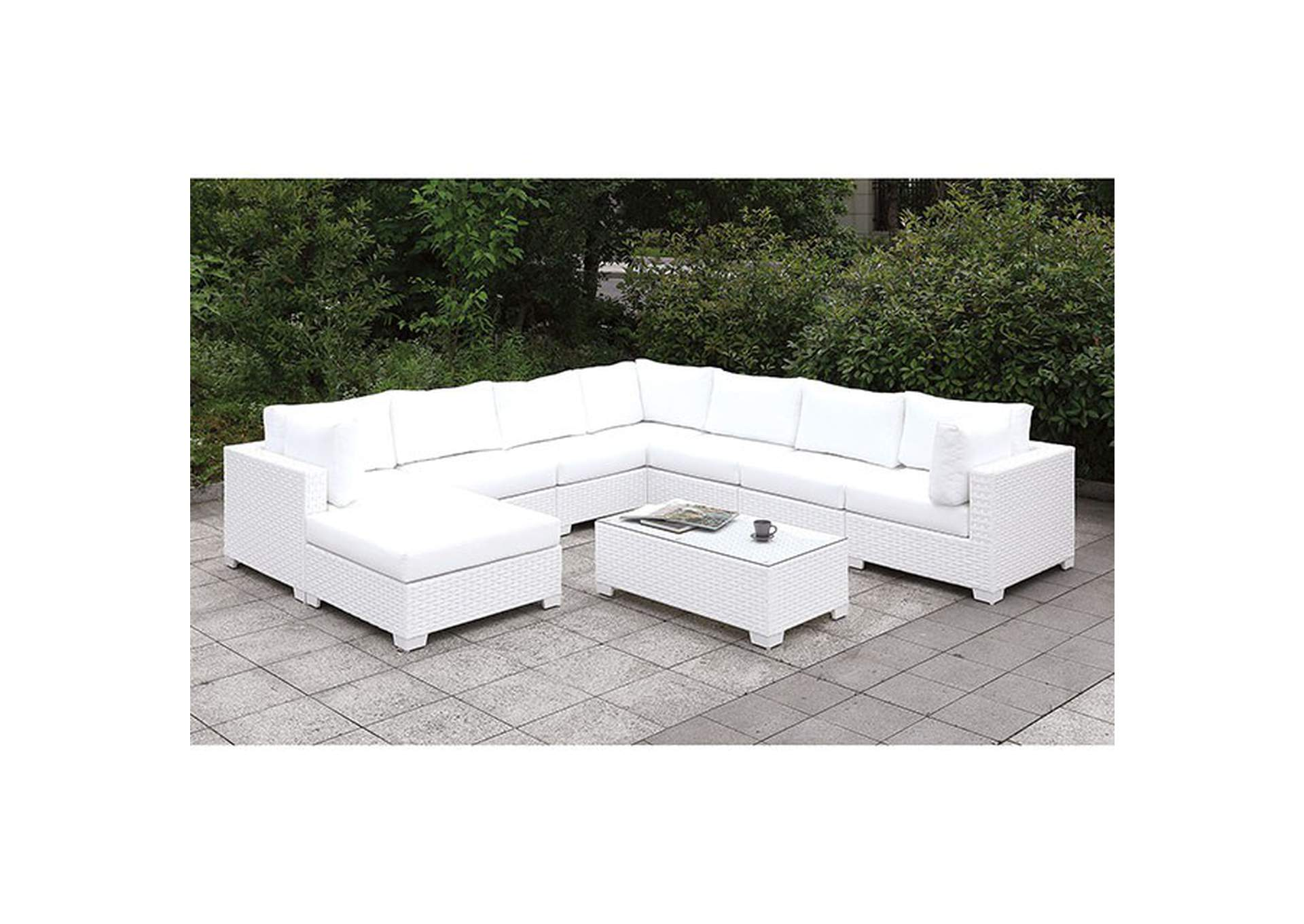 Somani White Wicker/White Cushion Bench,Furniture of America