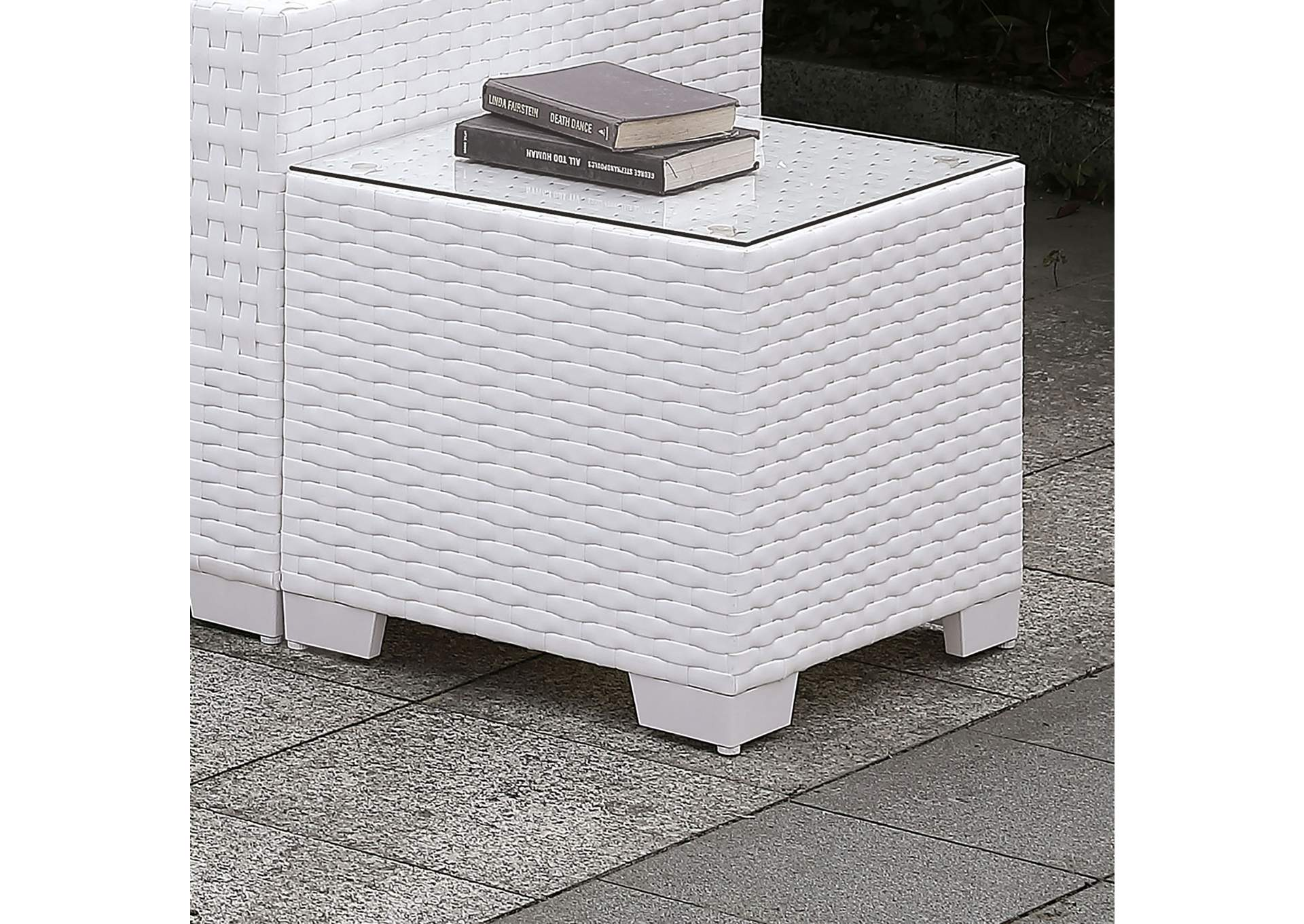 Somani White Wicker/White Cushion End Table,Furniture of America