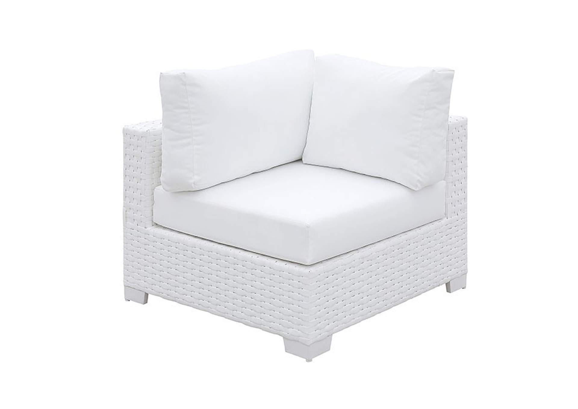 Somani White Wicker/White Cushion Armless Chair,Furniture of America