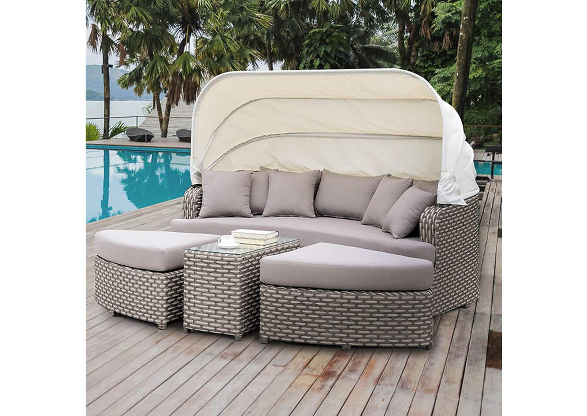 Riya Gray 4 Piece Patio Daybed,Furniture of America