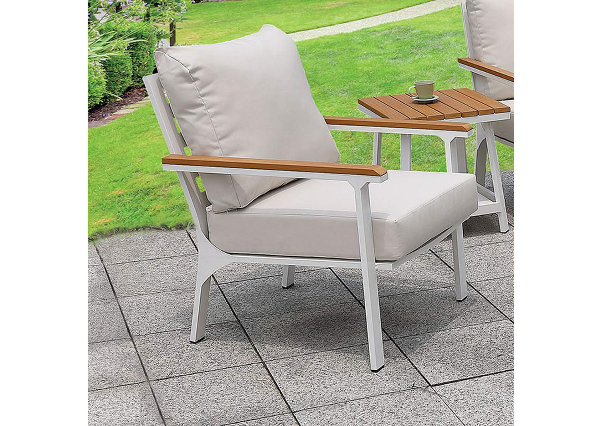 Anishan White 6 Piece Patio Set,Furniture of America
