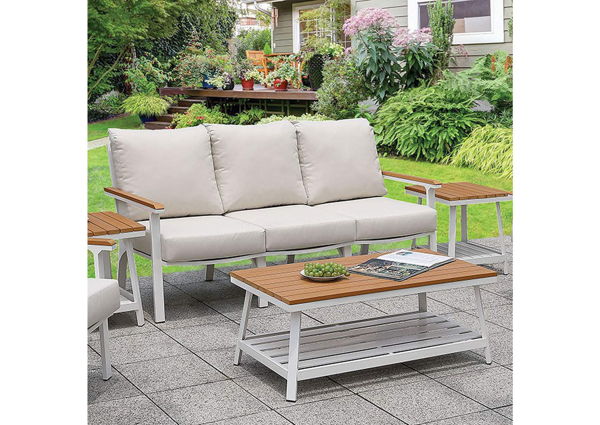 Anishan White/Oak 6 Piece Patio Set,Furniture of America