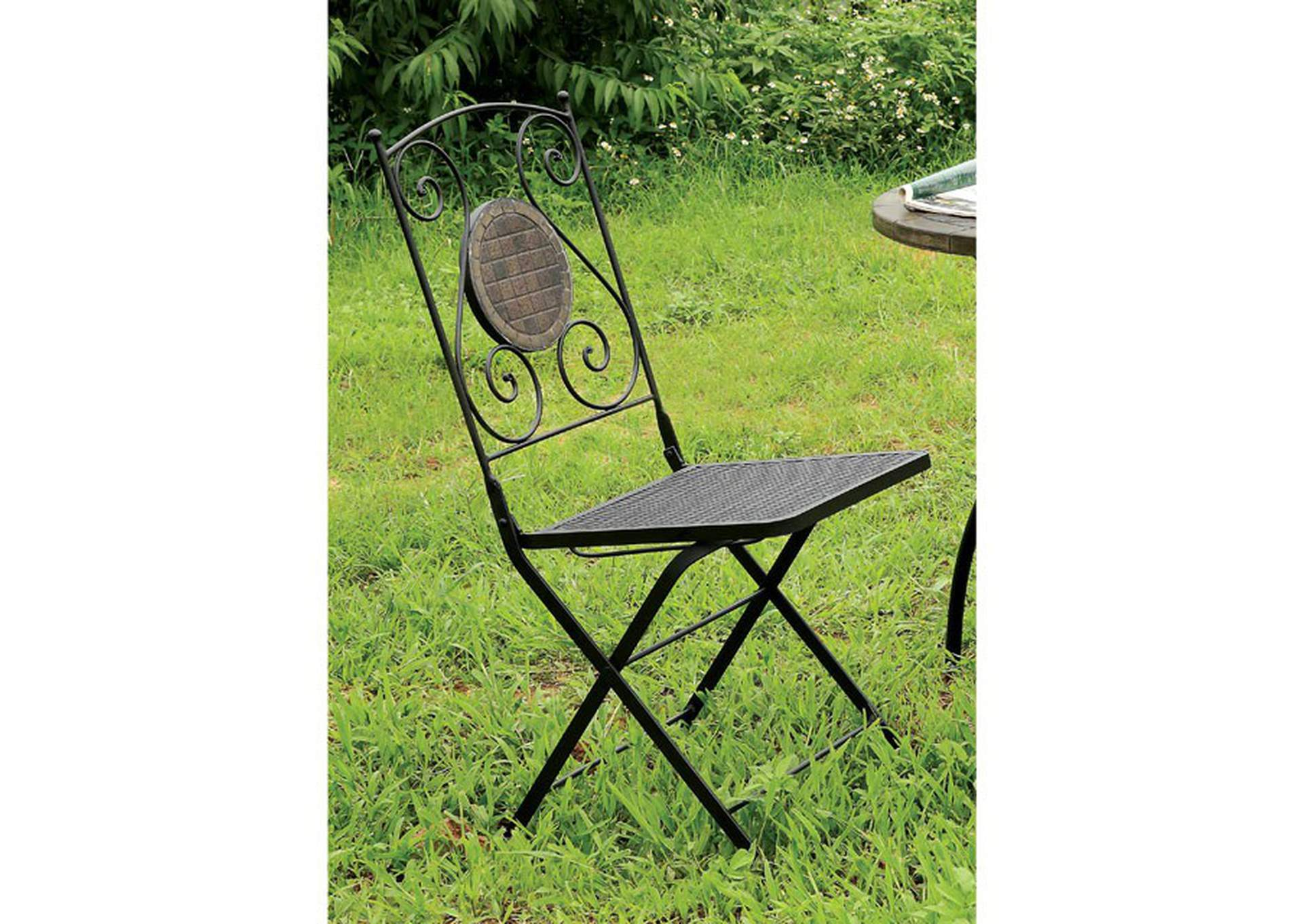 Betim Black Metal Folding Chair (2/Box),Furniture of America