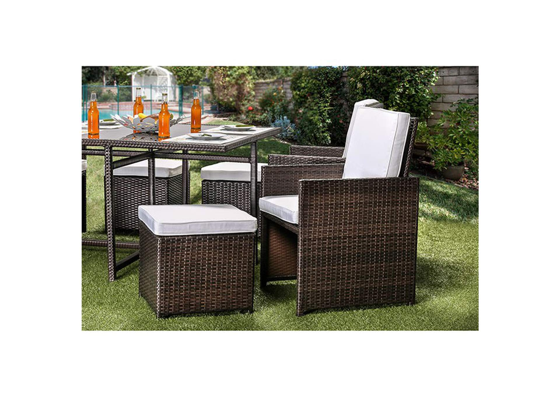 Keisha 9 Piece Patio Dining Set,Furniture of America