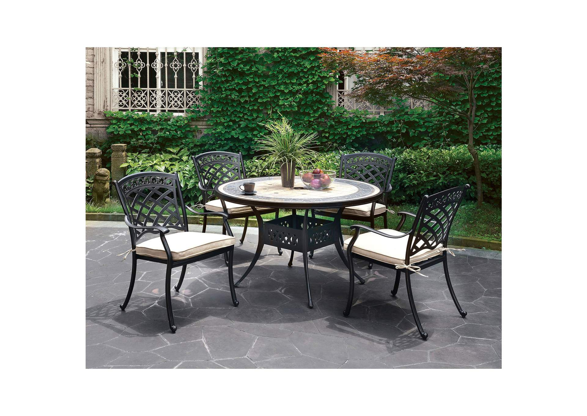 Charissa Antique Black Metal Patio Table,Furniture of America